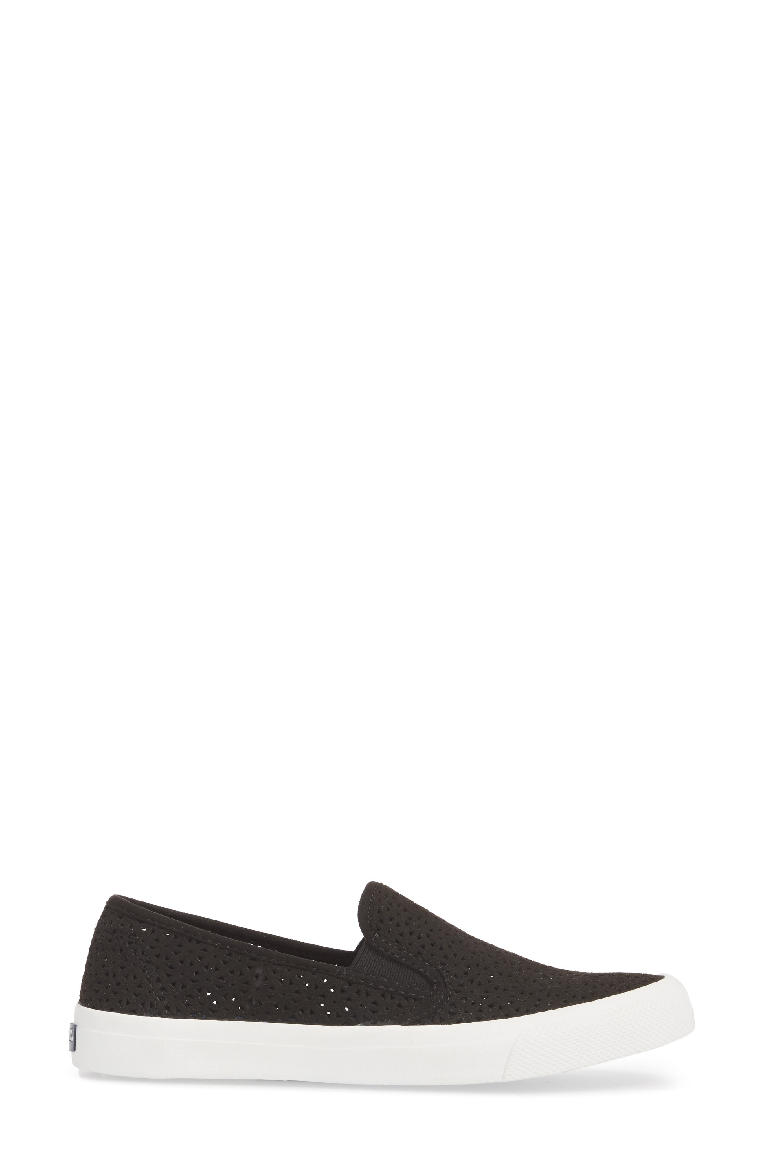 Seaside Nautical Perforated Slip-On Sneaker,                             Alternate thumbnail 3, color,                             BLACK LEATHER