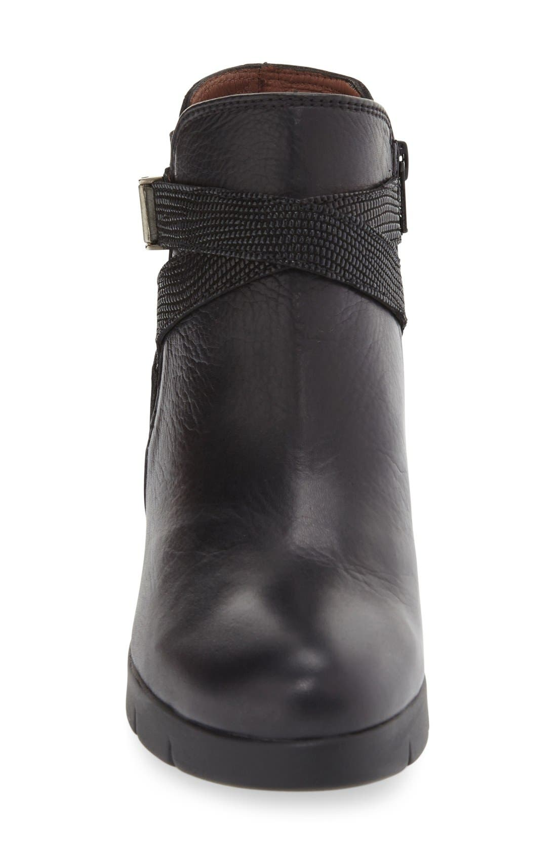 'Larae' Wedge Bootie,                             Alternate thumbnail 3, color,                             SOHO BLACK LEATHER