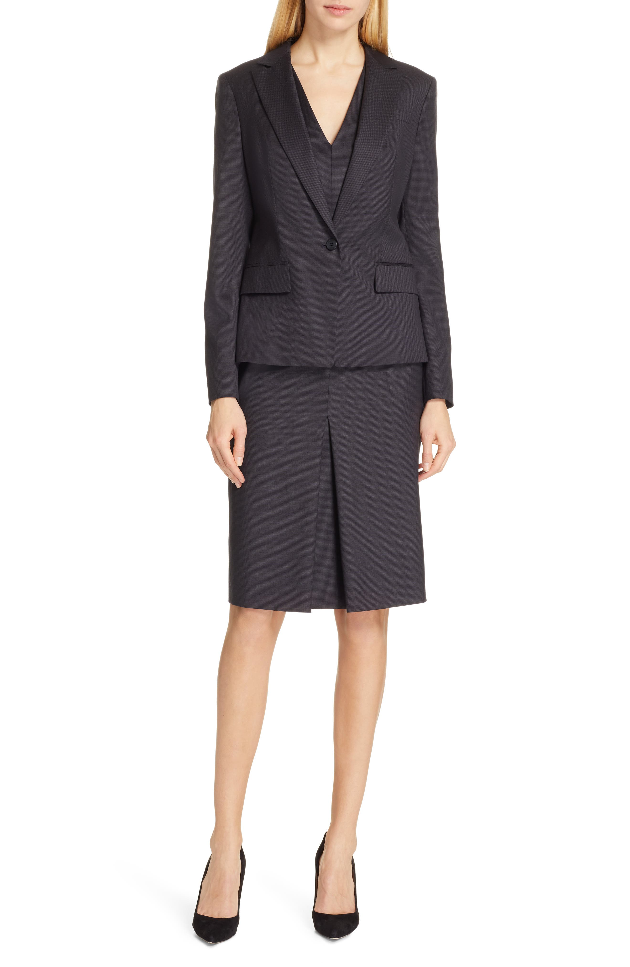 BOSS,                             Dalissa Pepita Wool Dress,                             Alternate thumbnail 8, color,                             BLACK FANTASY