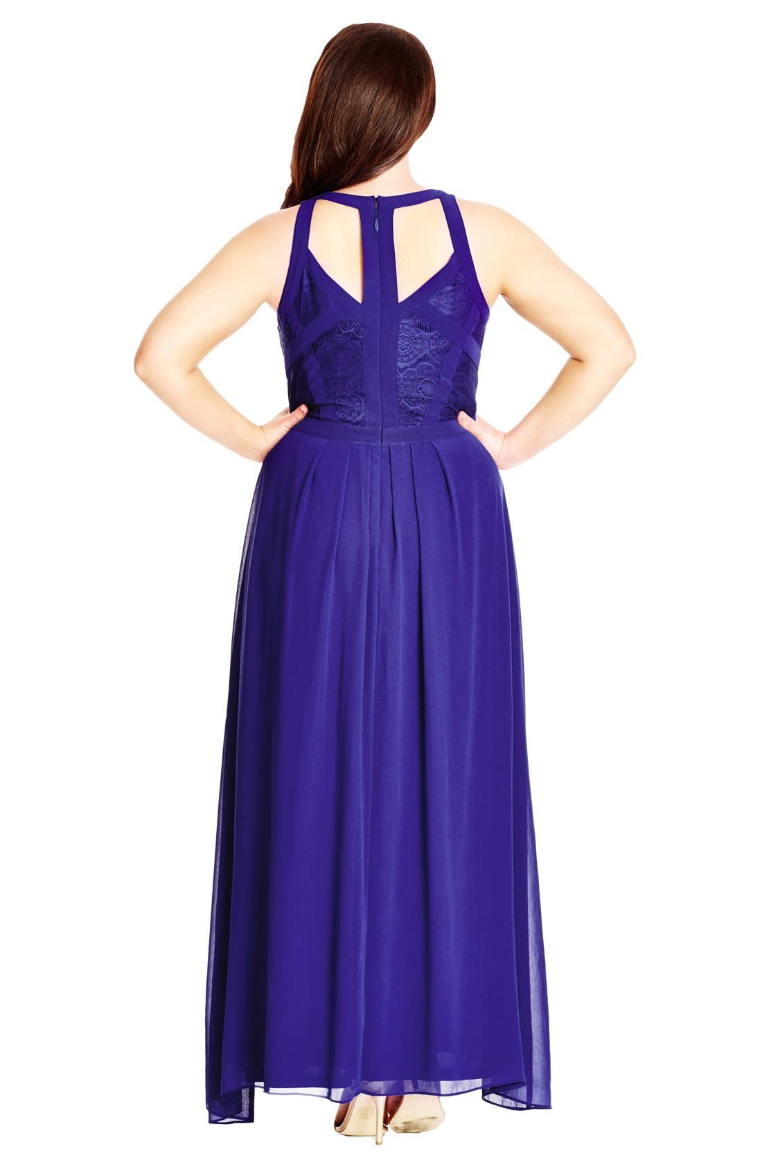 Paneled Lace Bodice Gown,                             Alternate thumbnail 19, color,