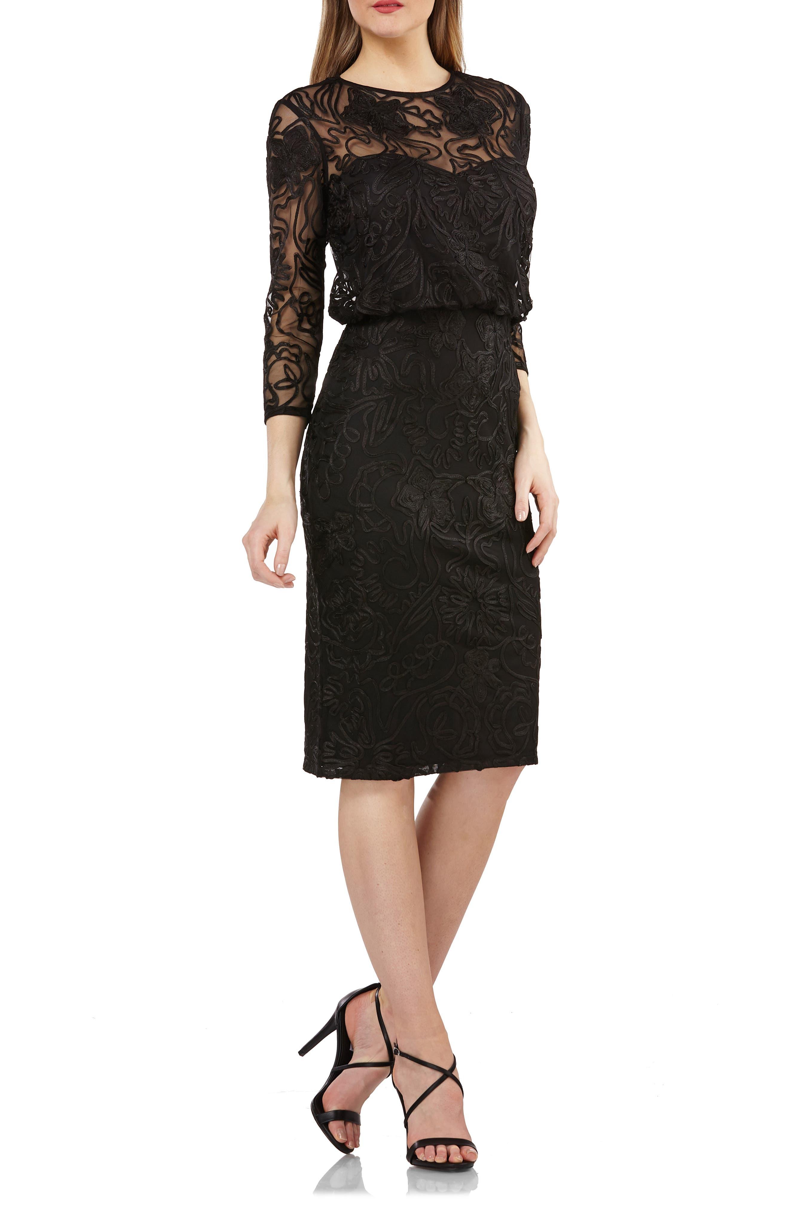Soutache Embroidered Blouson Dress,                         Main,                         color, BLACK