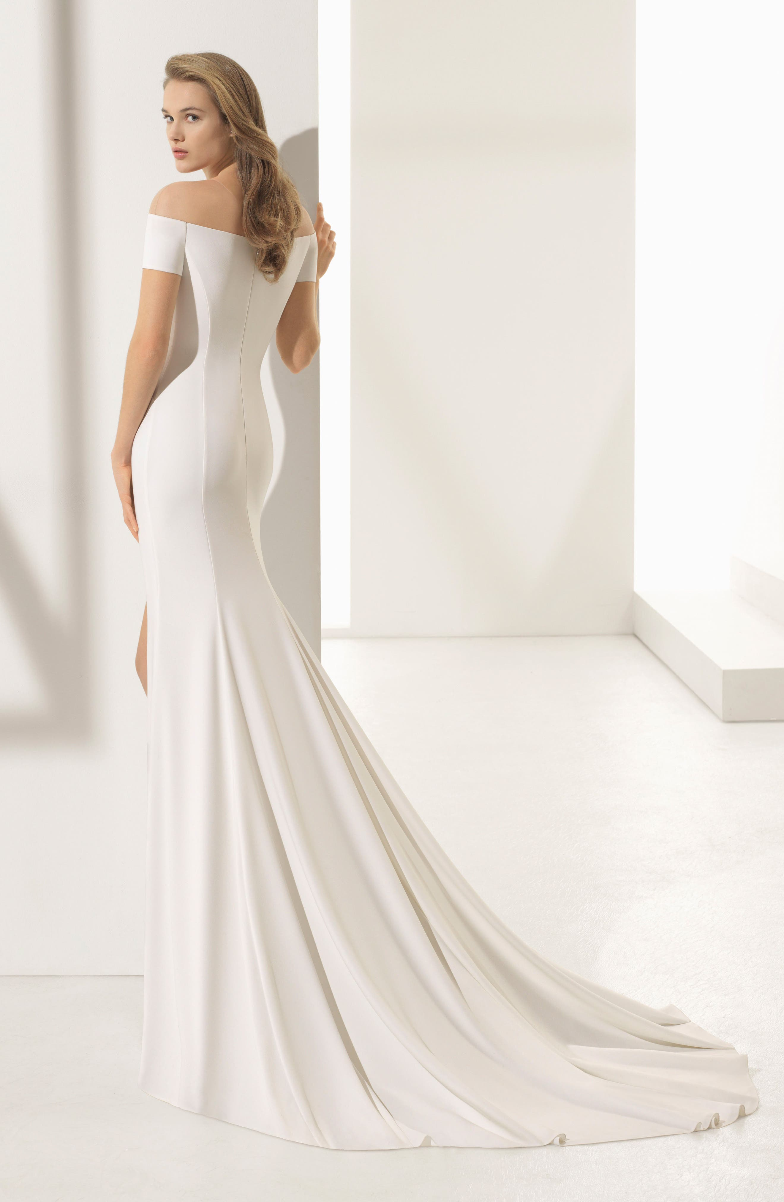 Rosa Clará Couture Padua Off the Shoulder Crepe Gown,                             Alternate thumbnail 2, color,                             NATURAL