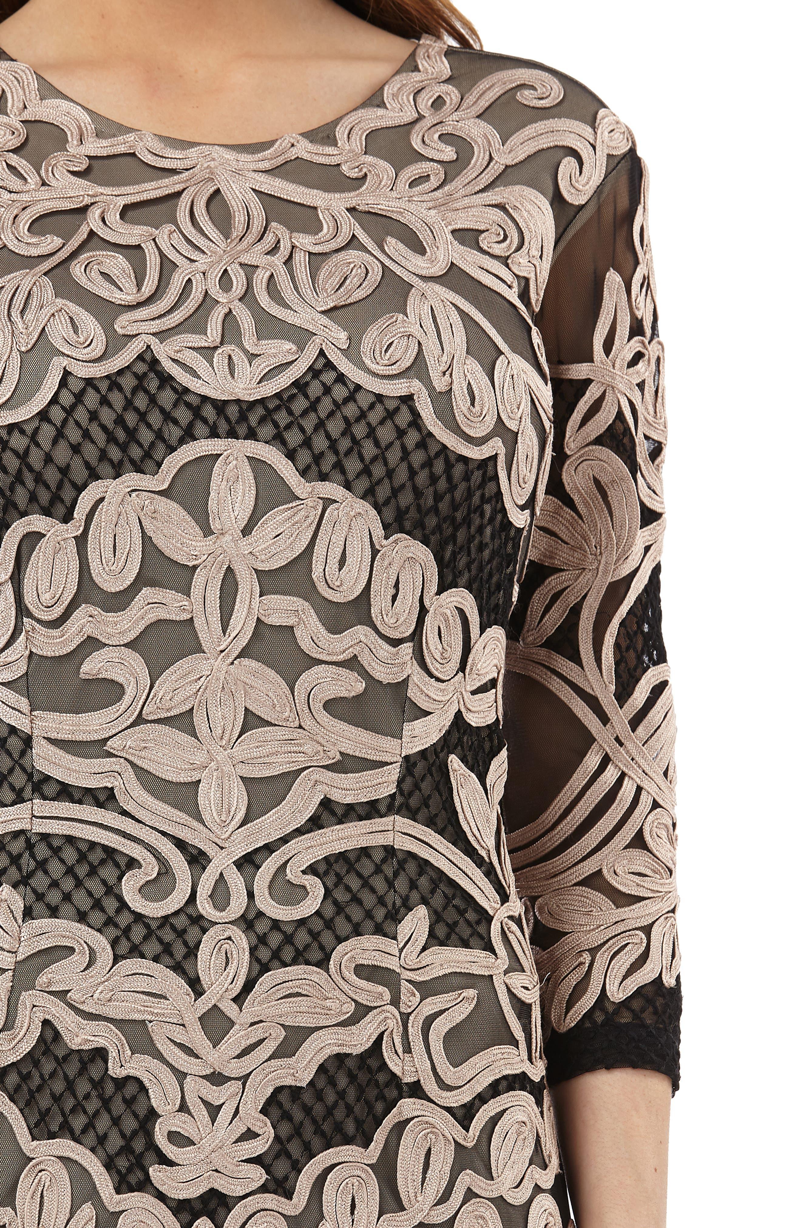 Soutache Sheath Dress,                             Alternate thumbnail 4, color,                             CHAMPAGNE/ BLACK