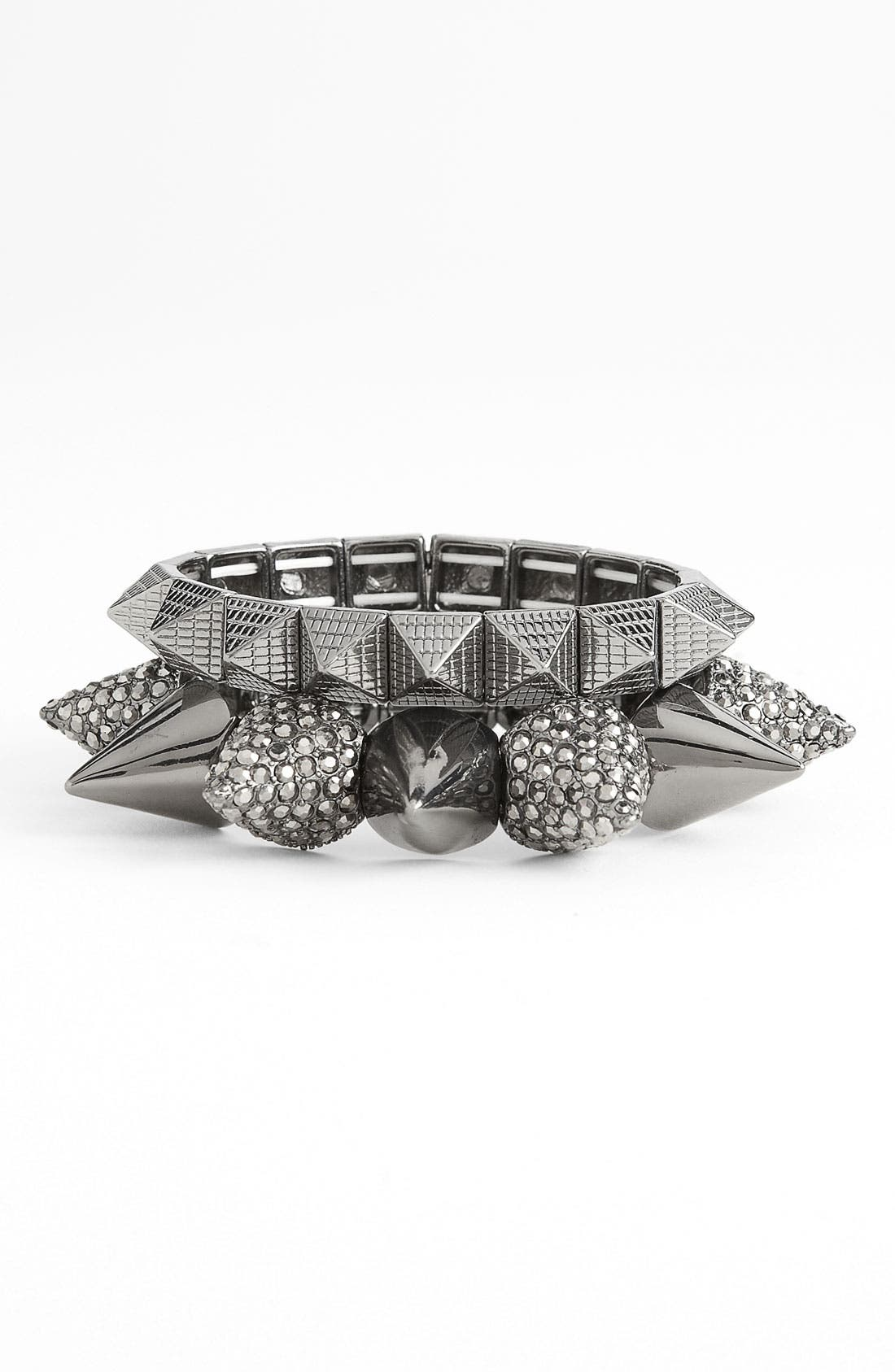 CARA,                             Pyramid Stretch Bracelet,                             Alternate thumbnail 2, color,                             001