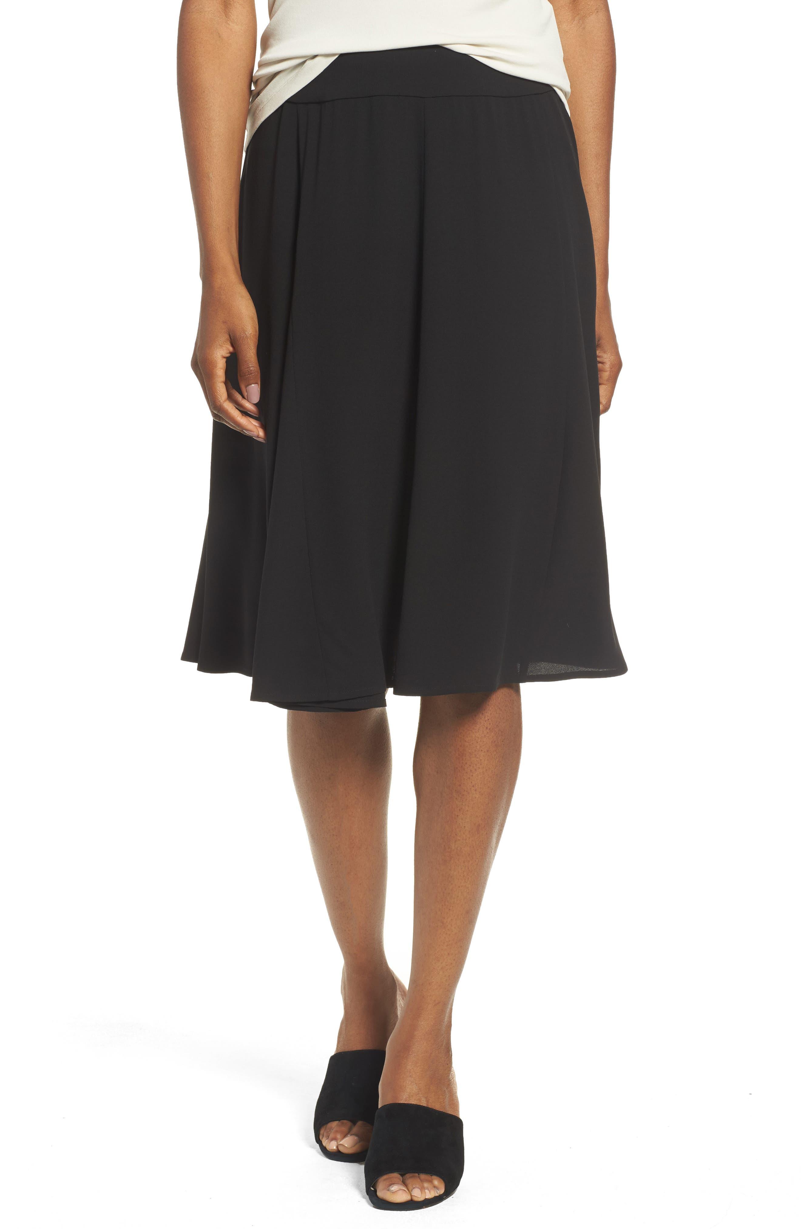 Gored Silk Skirt,                             Main thumbnail 1, color,                             001