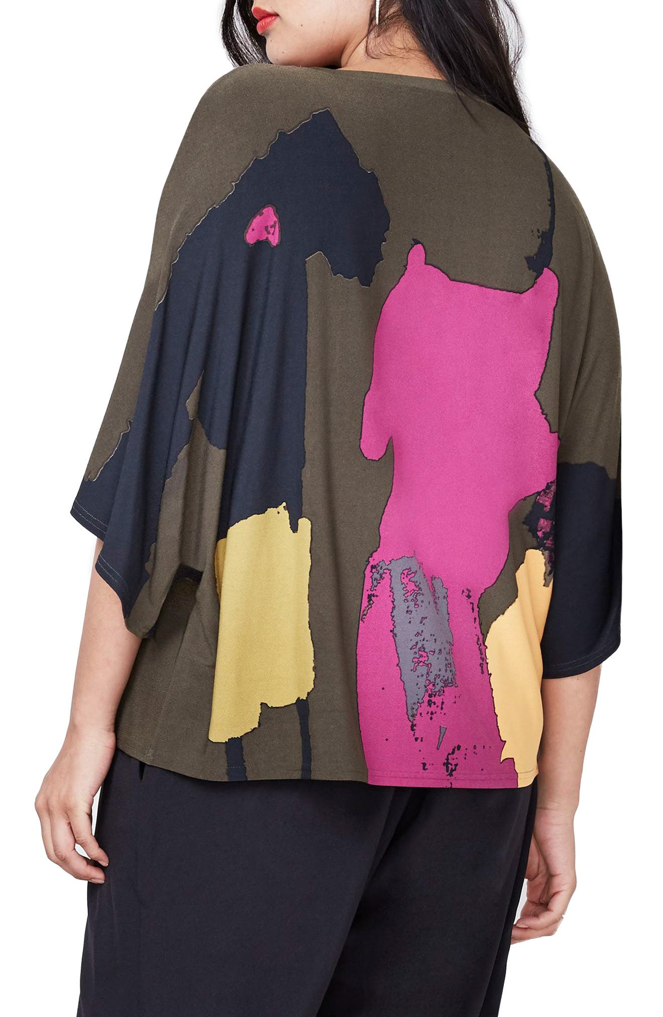 Rachel Roy Print Cold Shoulder Top,                             Alternate thumbnail 4, color,