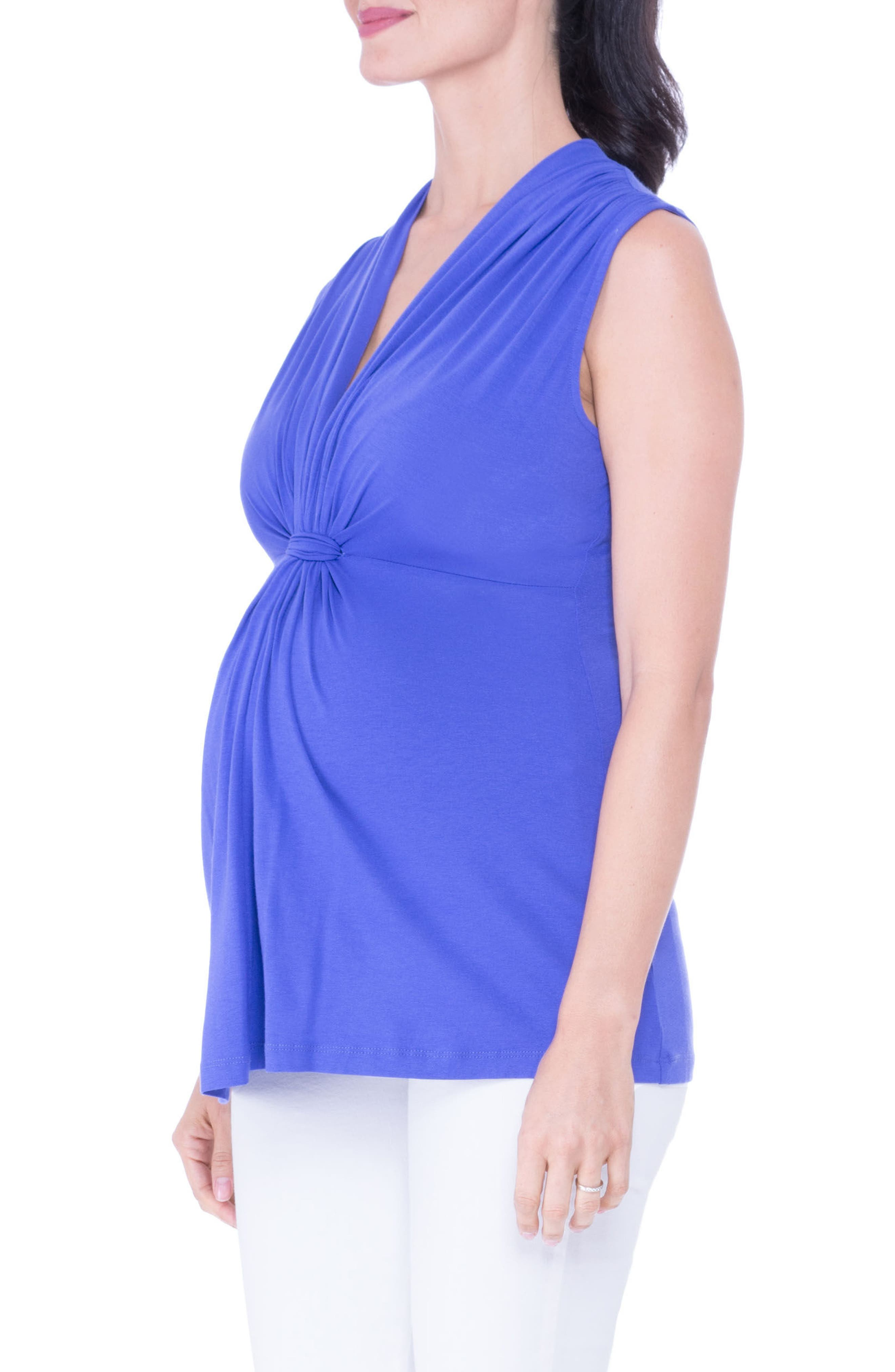 Knot Maternity Top,                             Alternate thumbnail 3, color,                             PERIWINKLE