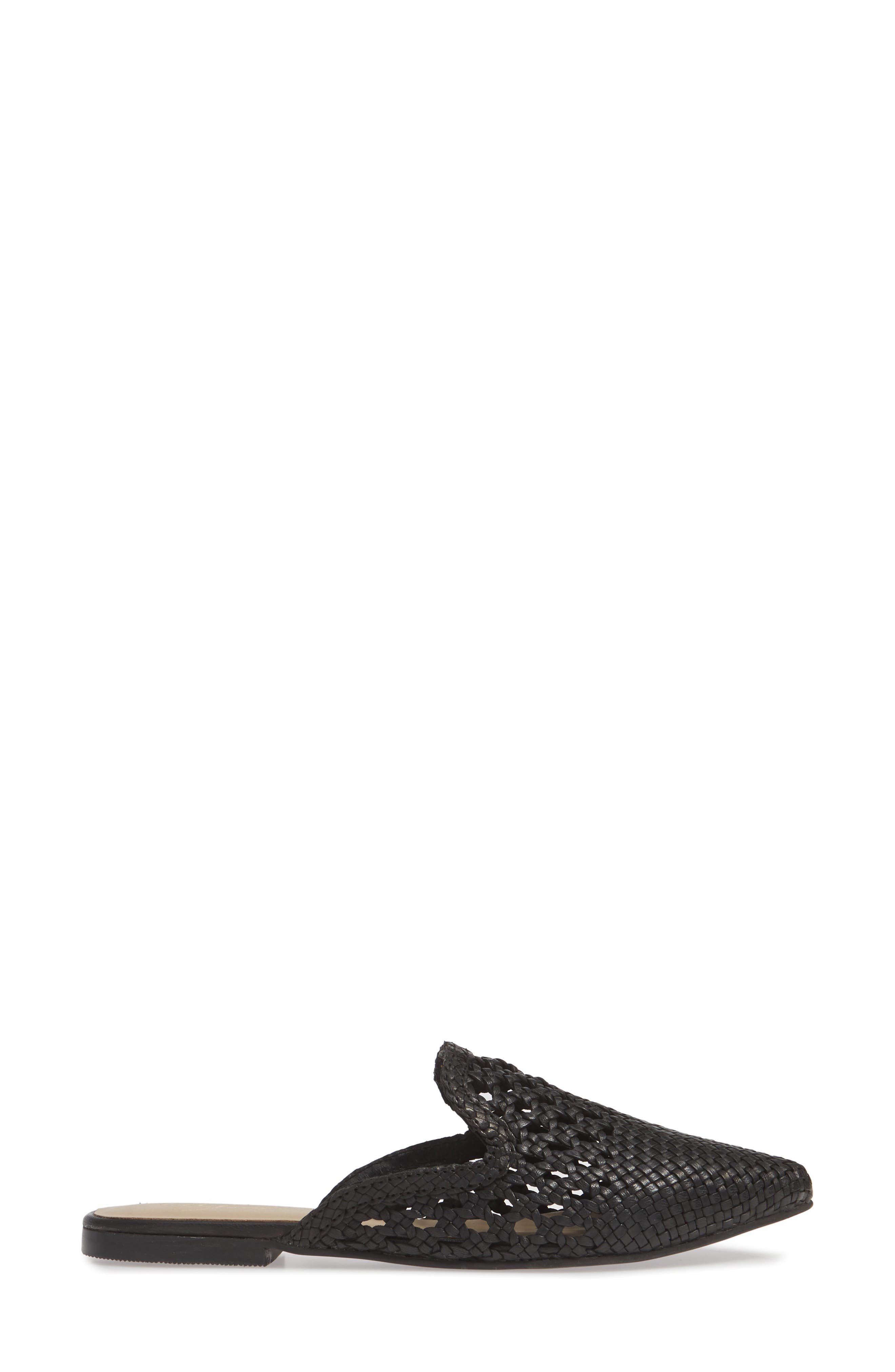 Corra Woven Loafer Mule,                             Alternate thumbnail 3, color,                             BLACK LEATHER