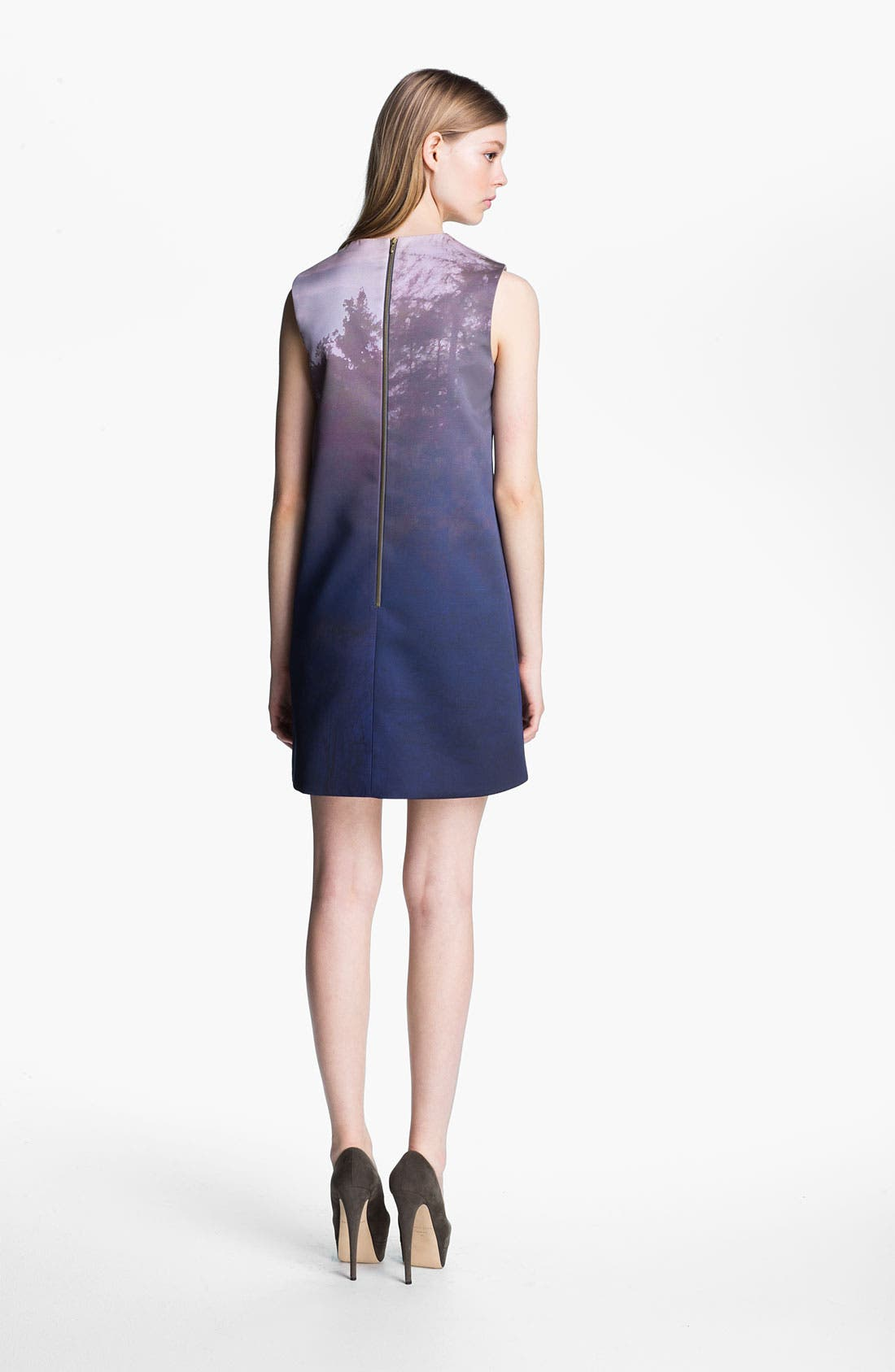 Print Compact Sateen Shift Dress,                             Alternate thumbnail 2, color,                             400