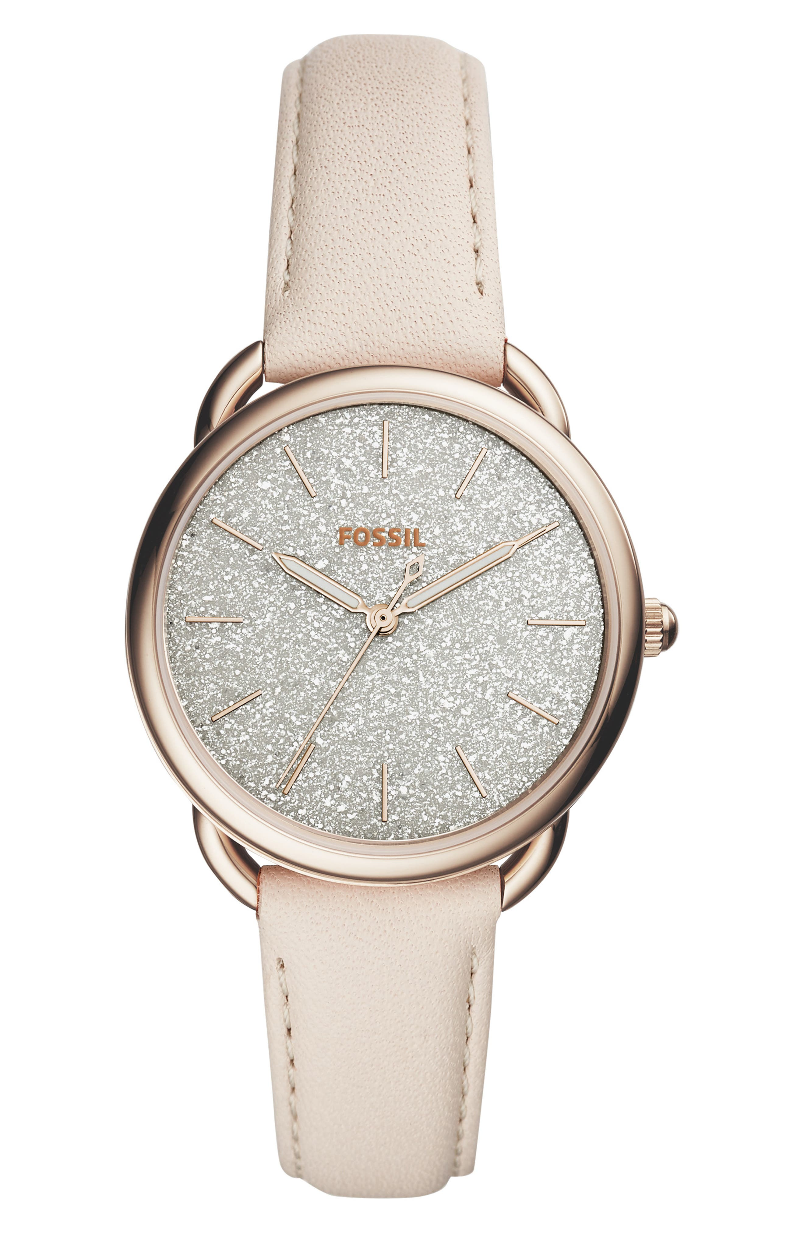 FOSSIL Women'S Tailor Winter White Leather Strap Watch 35Mm in Rose