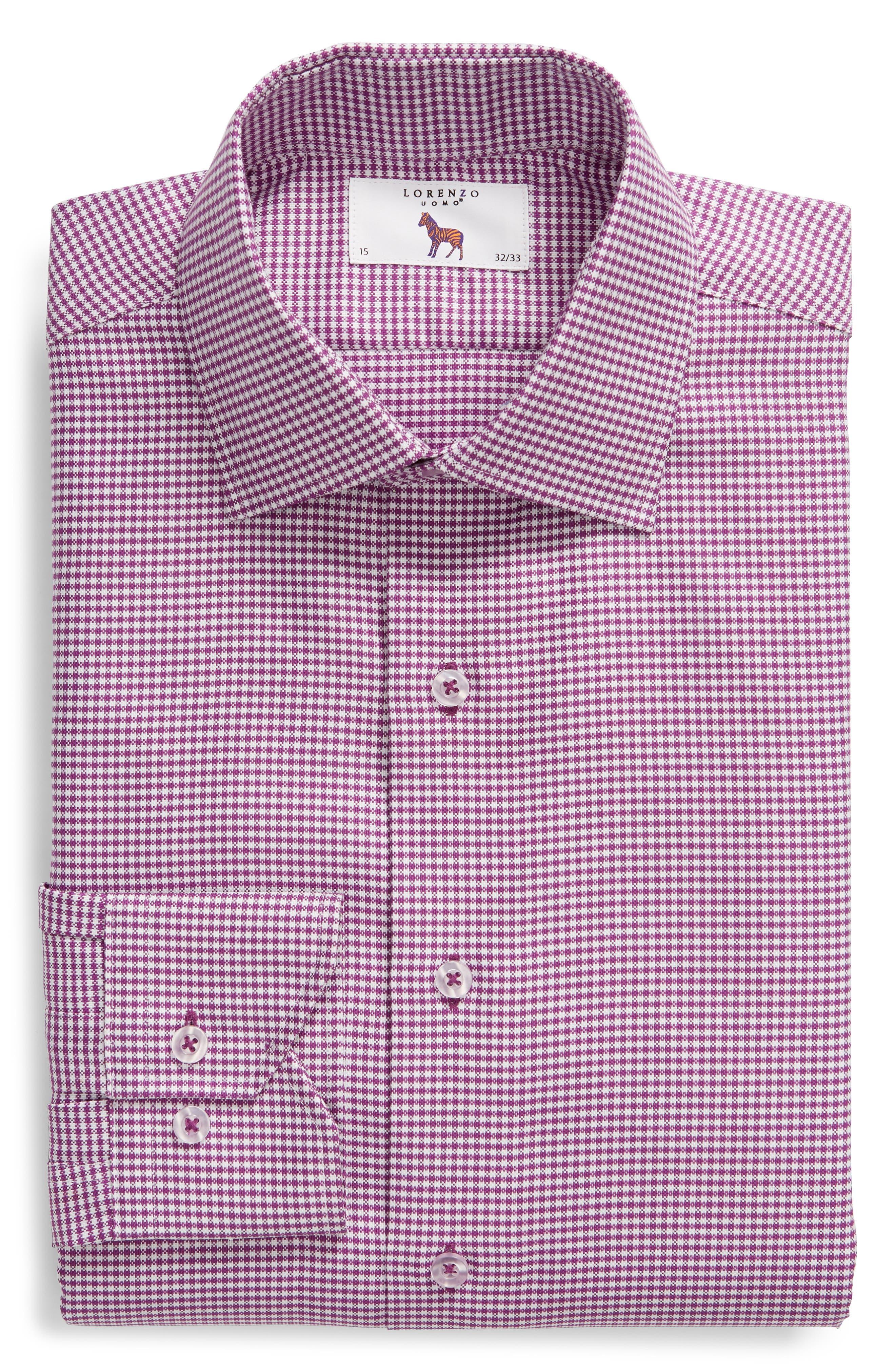 Trim Fit Check Dress Shirt,                             Alternate thumbnail 5, color,                             PURPLE