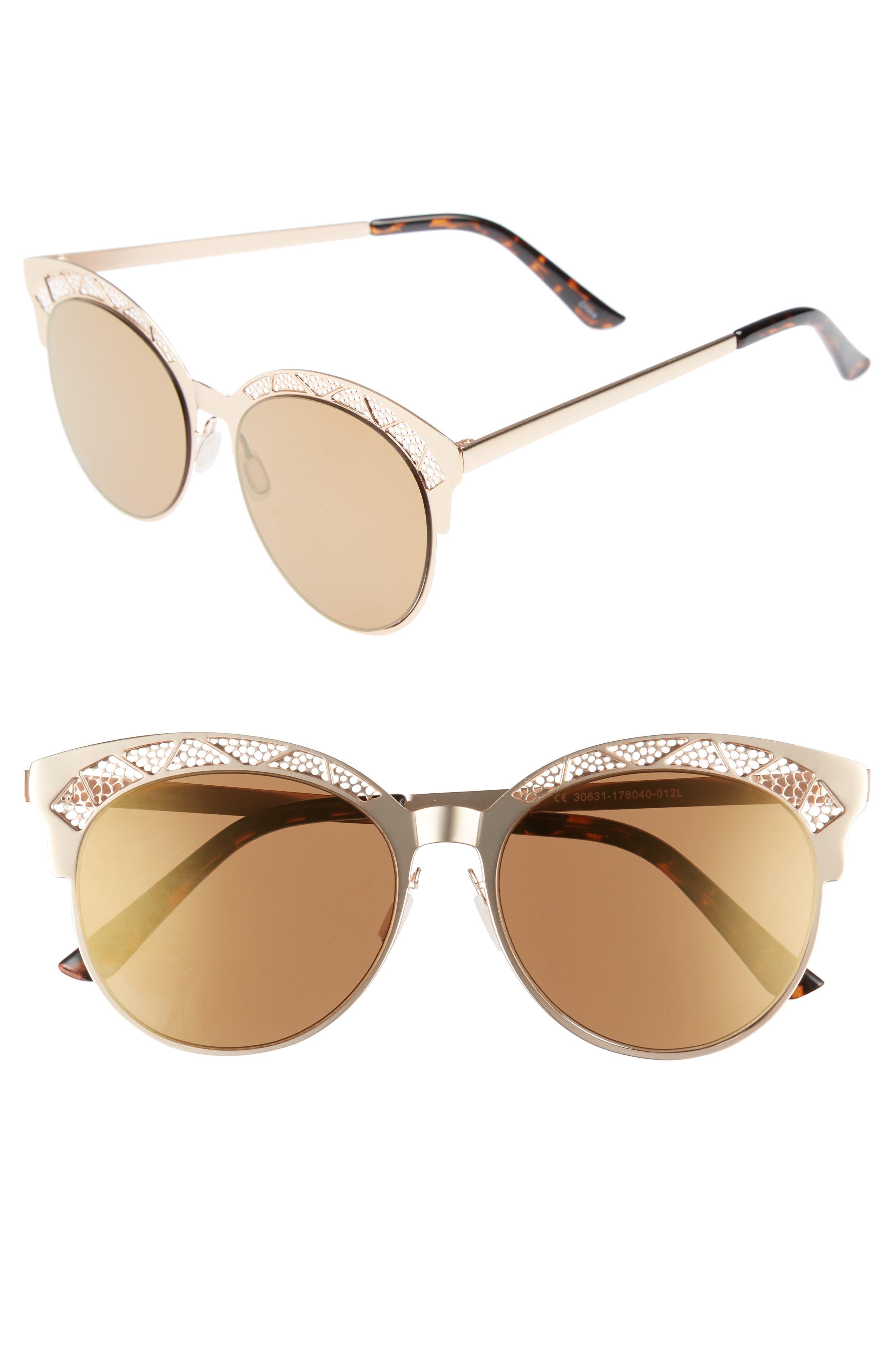 56mm Round Sunglasses,                             Main thumbnail 1, color,                             710
