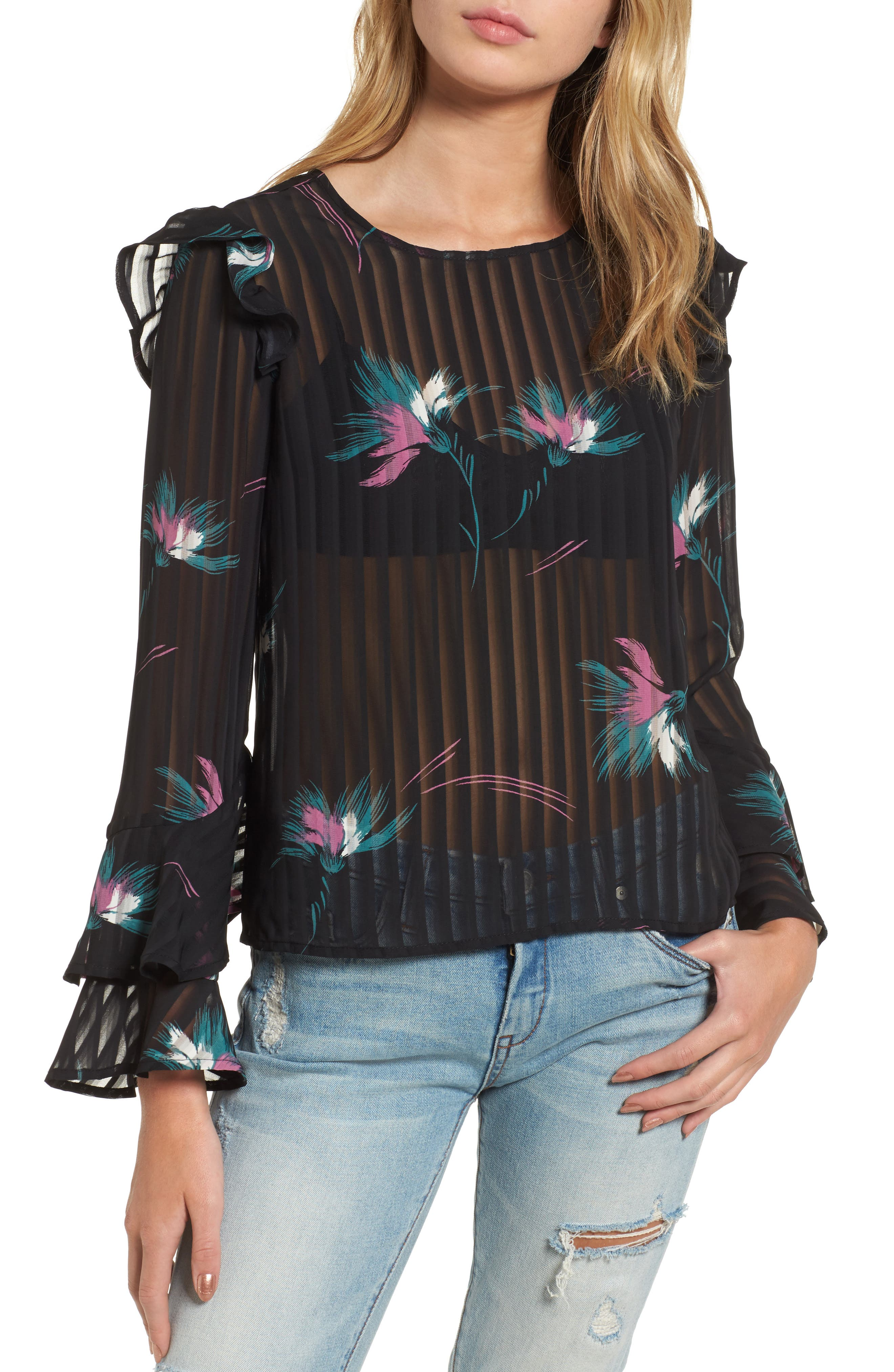 Ruffled Sheer Stripe Blouse,                             Main thumbnail 1, color,                             001