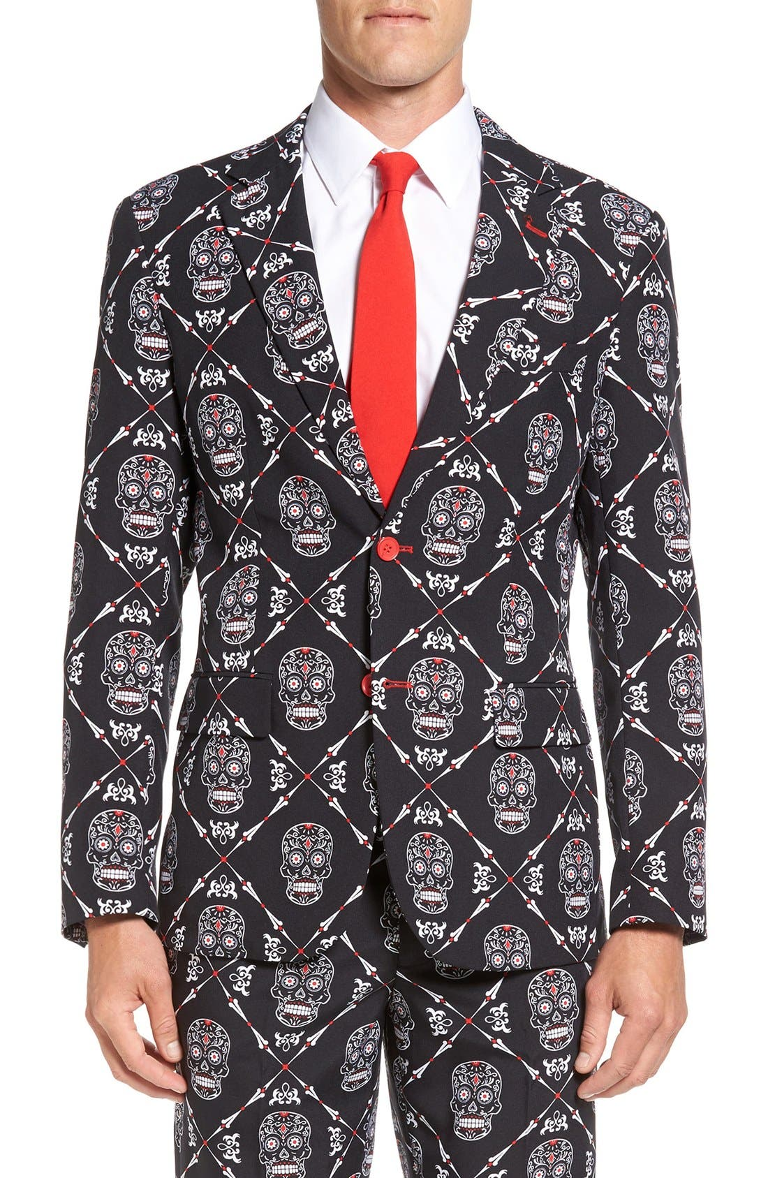'Haunting Hombre' Trim Fit Suit with Tie,                             Alternate thumbnail 6, color,                             001