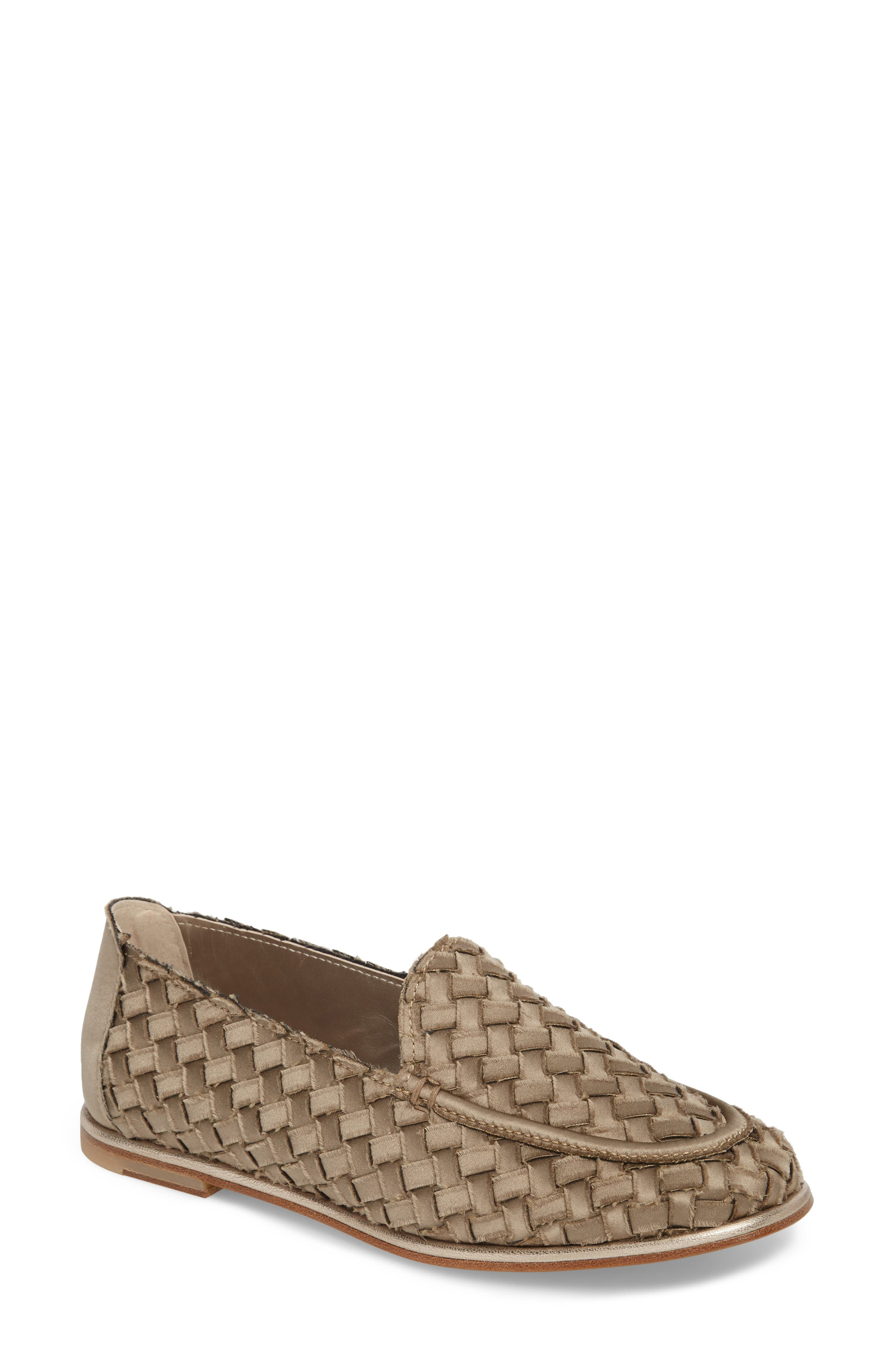 Woven Loafer,                             Main thumbnail 1, color,                             TAUPE SATIN