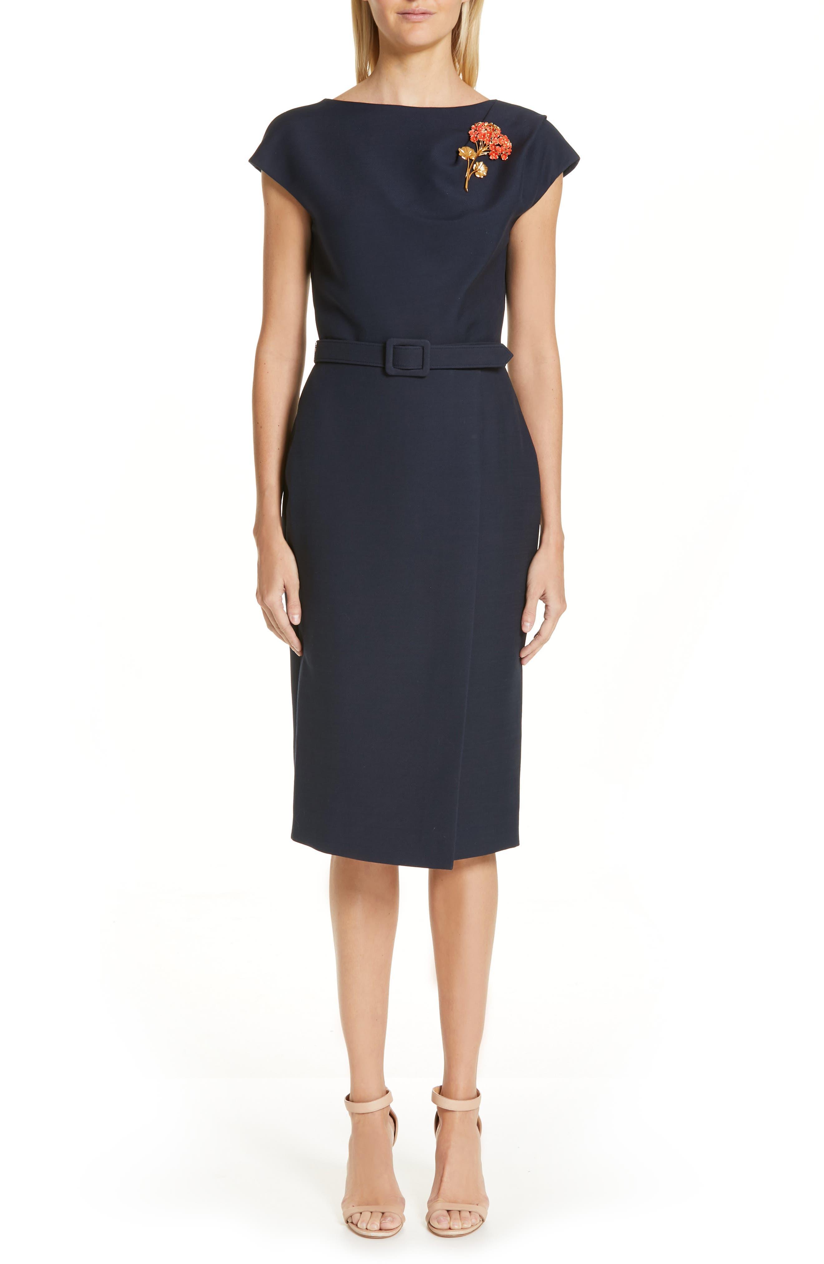 Oscar De La Renta Flower Brooch Belted Wool & Silk Midi Dress, Blue