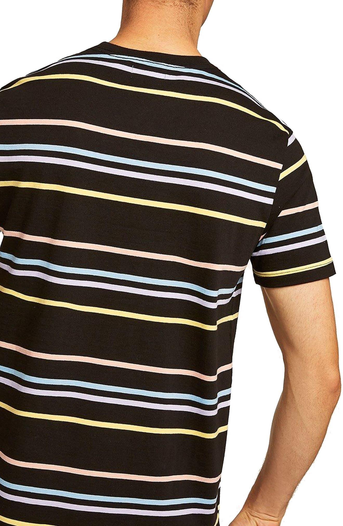 Classic Fit Rainbow Stripe T-Shirt,                             Alternate thumbnail 2, color,                             001