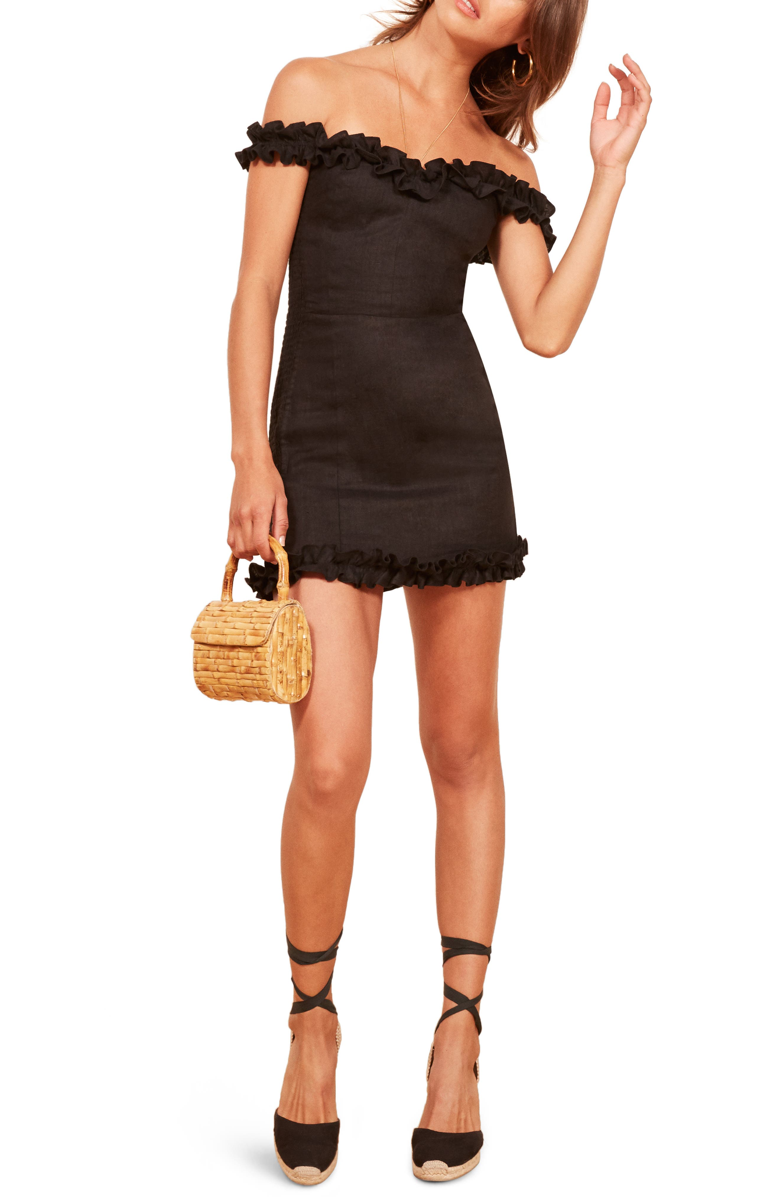 Bonita Linen Body-Con Dress,                         Main,                         color, BLACK