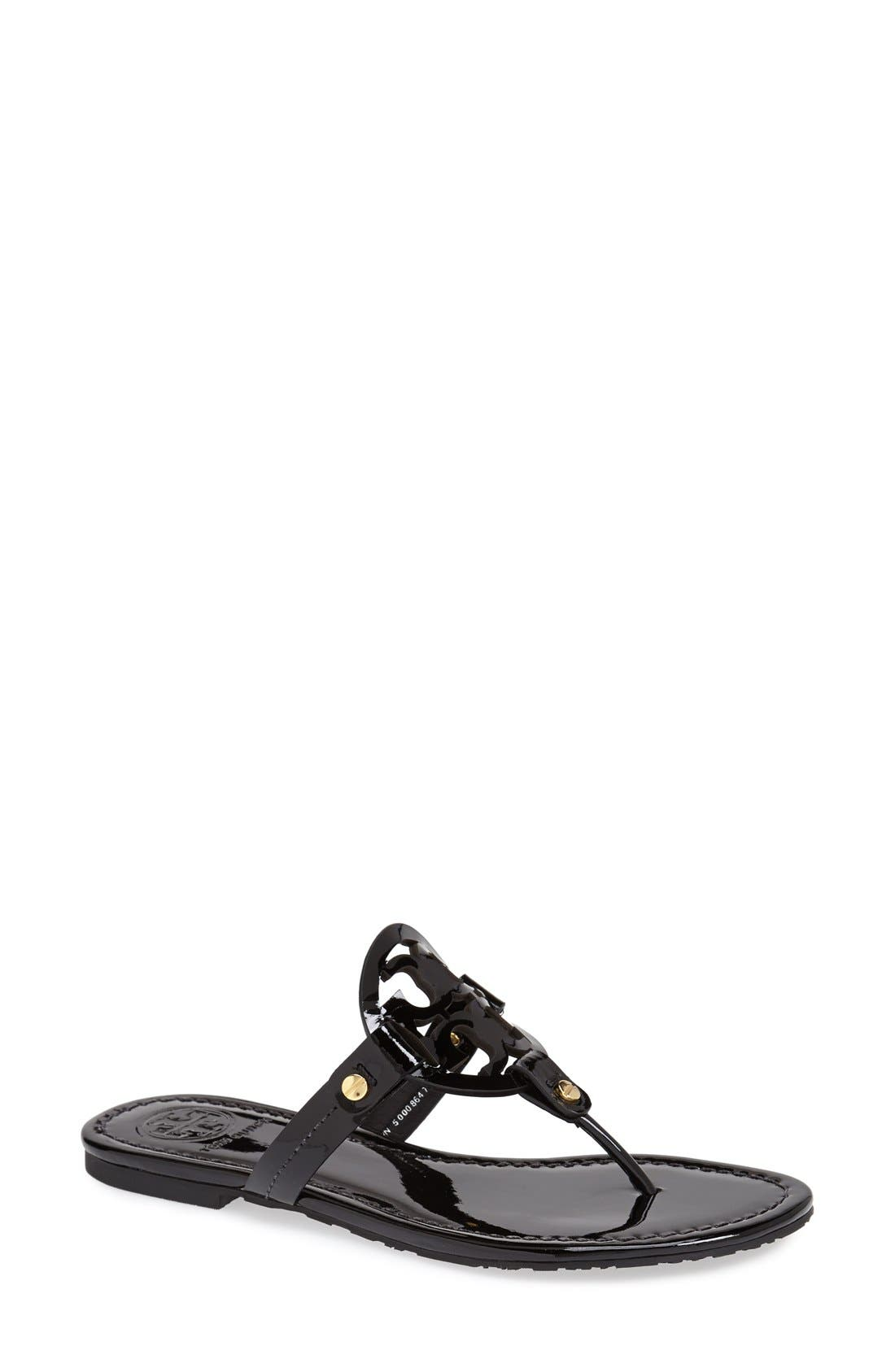 'Miller' Flip Flop,                             Main thumbnail 1, color,                             BLACK PATENT
