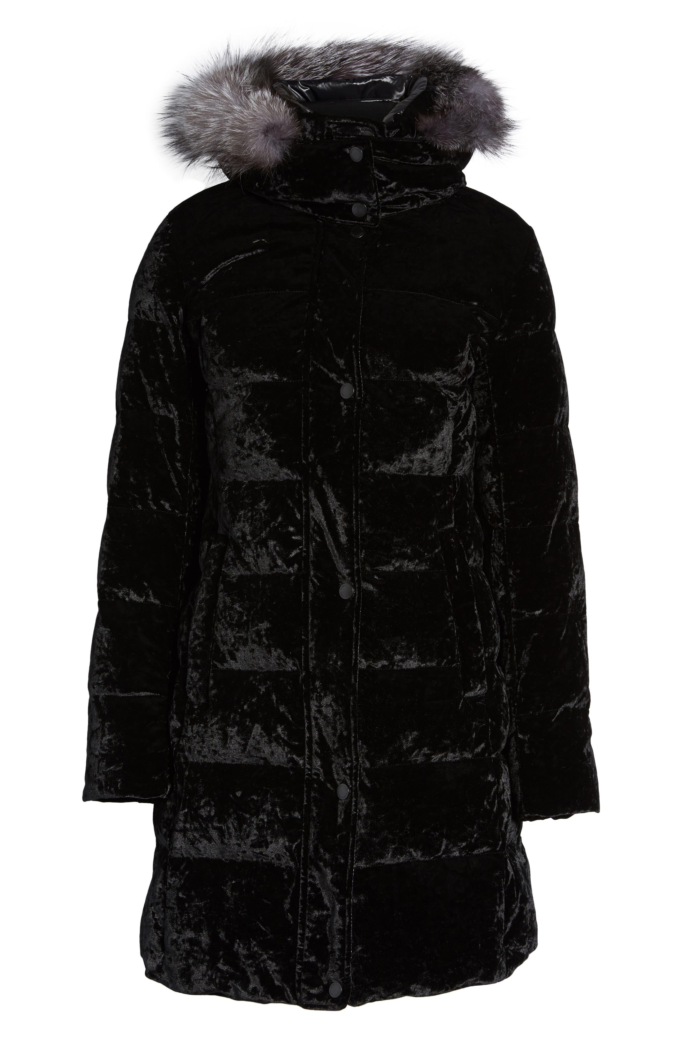 Velvet Down Jacket with Genuine Fox Fur,                             Alternate thumbnail 5, color,                             001