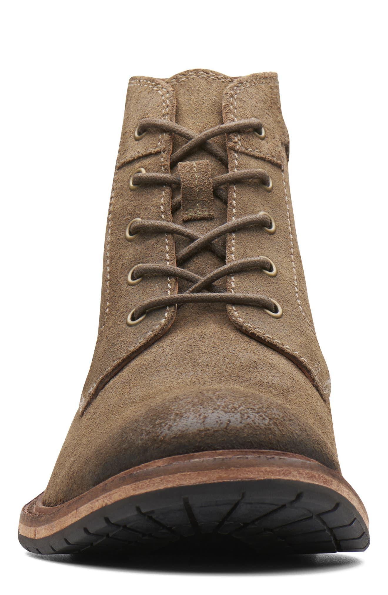 Clarkdale Bud Plain Toe Boot,                             Alternate thumbnail 3, color,                             KHAKI SUEDE