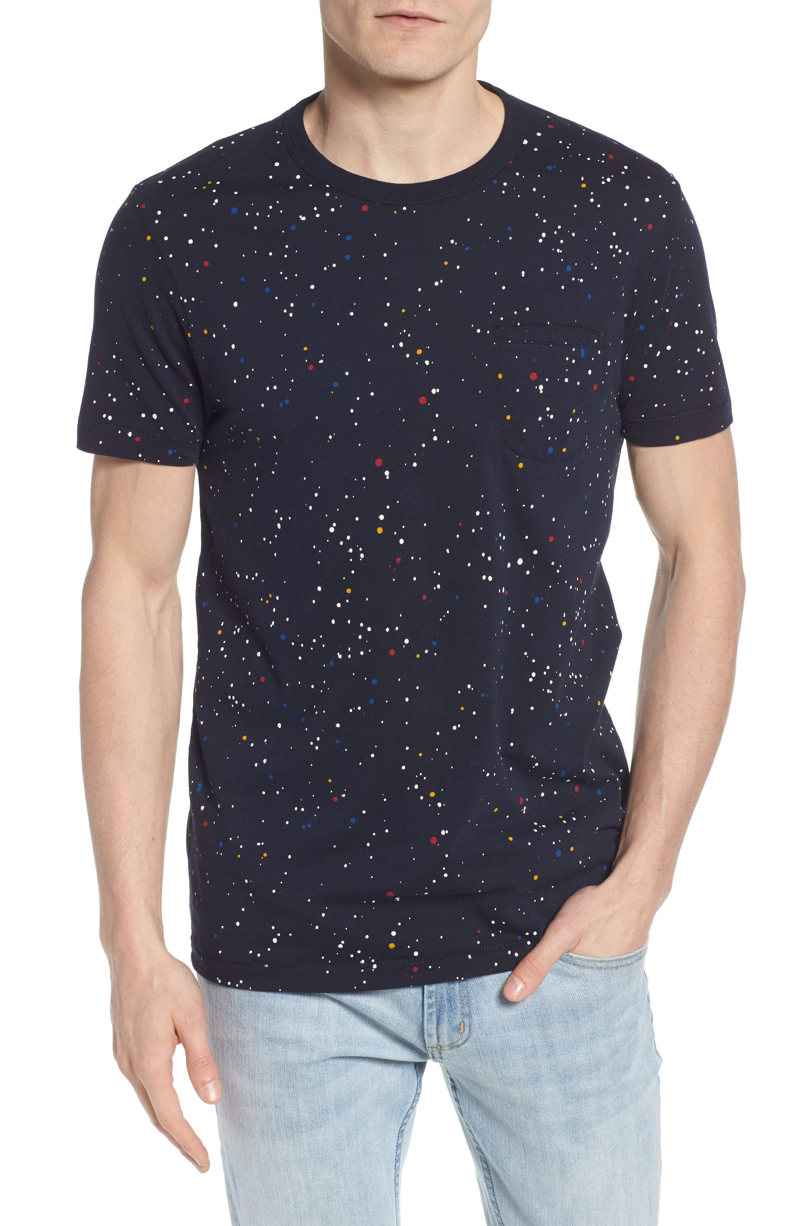 Star Splatter Crewneck T-Shirt,                         Main,                         color, MARINE BLUE