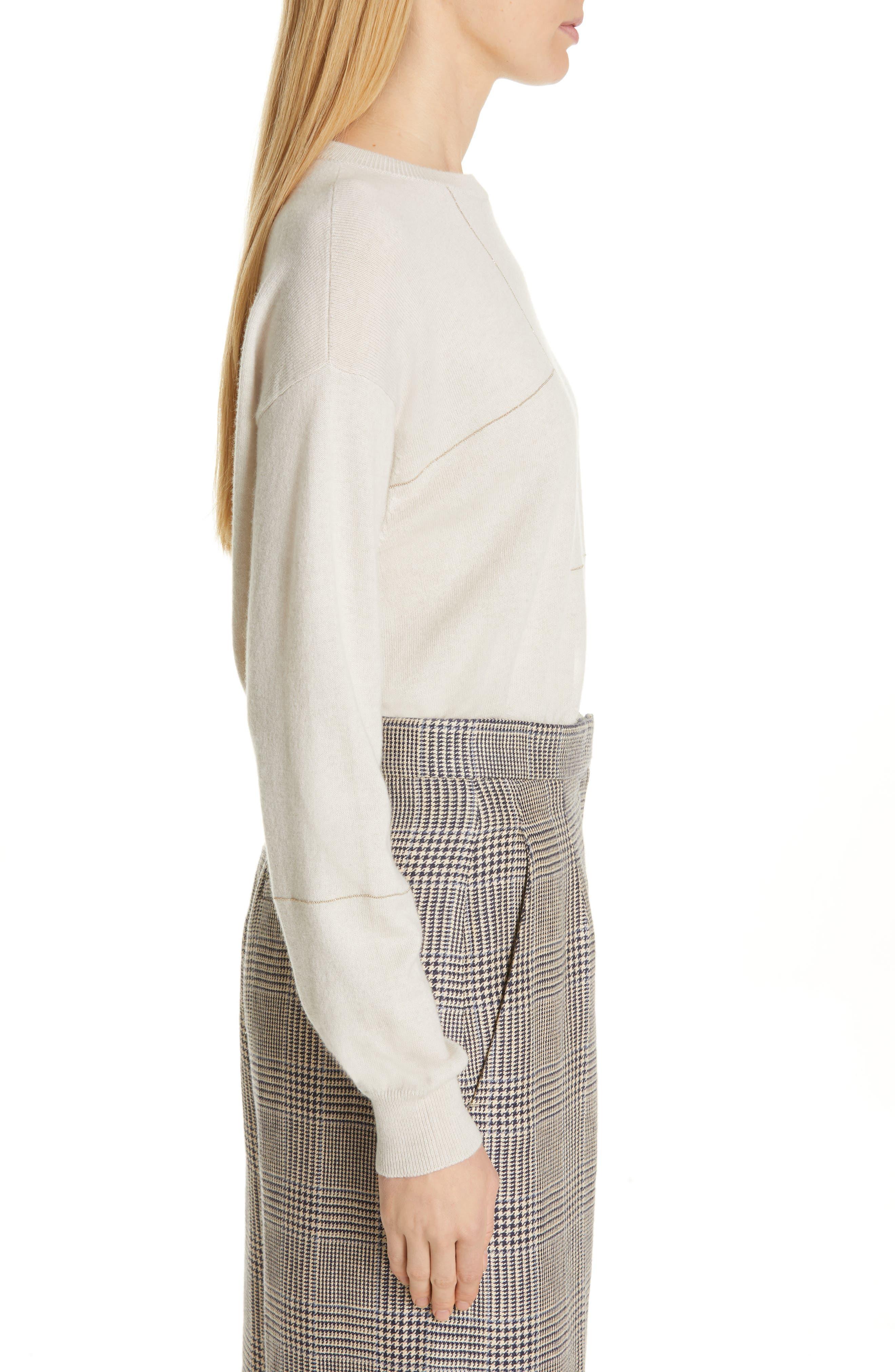 Monili Patchwork Cashmere Sweater,                             Alternate thumbnail 3, color,                             BUTTERMILK