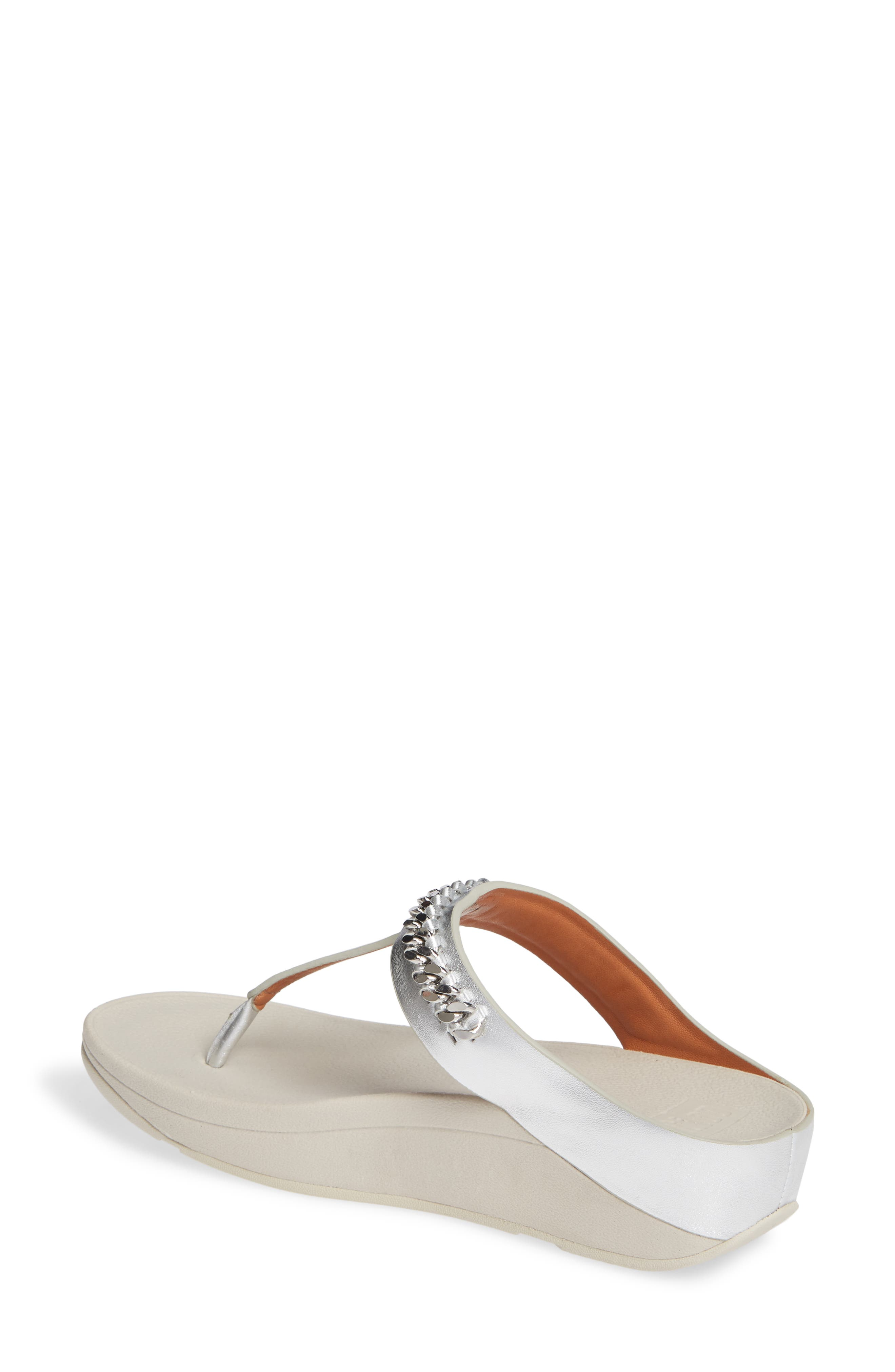 Fino Flip Flop,                             Alternate thumbnail 2, color,                             SILVER LEATHER