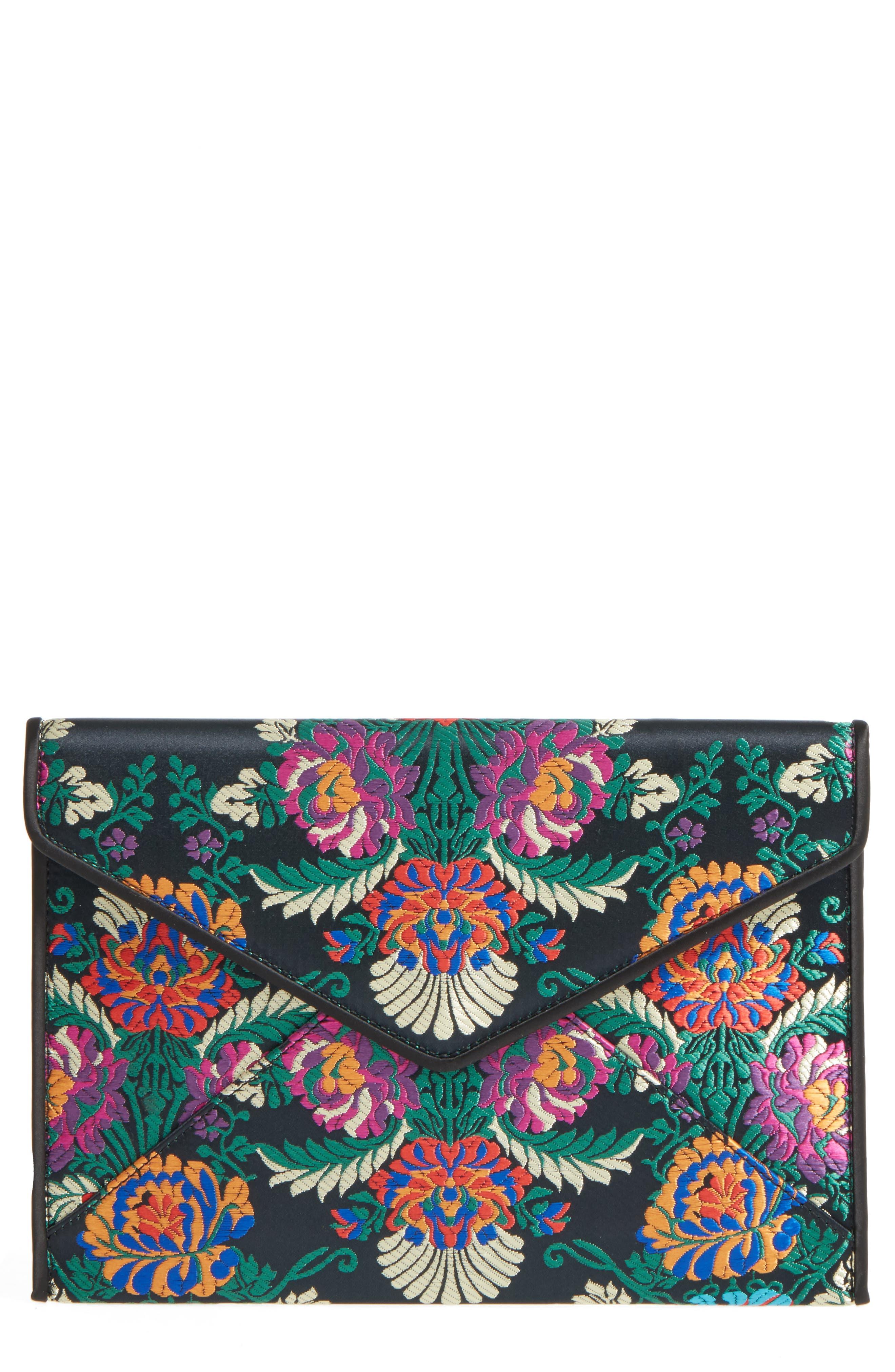 Leo Satin Floral Clutch,                         Main,                         color, 002