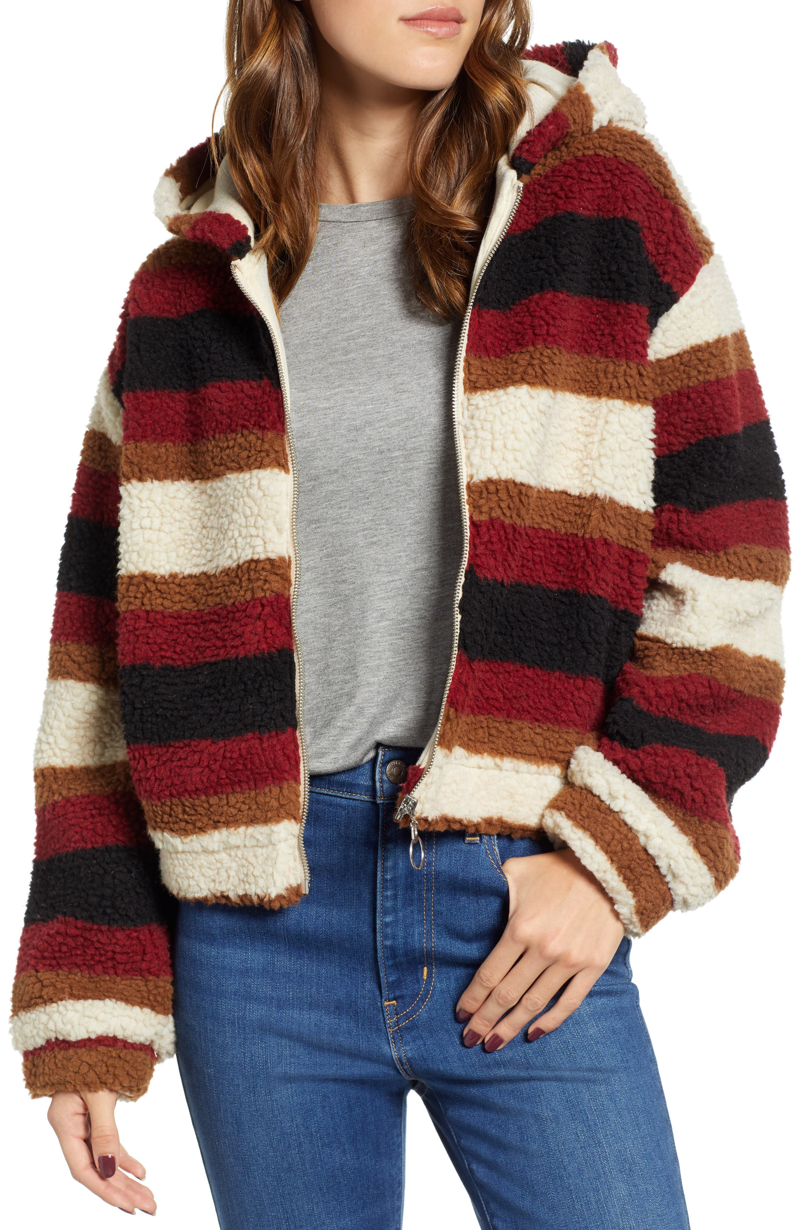 Stripe Fleece Hooded Jacket,                             Main thumbnail 1, color,                             NATURAL STRIPE