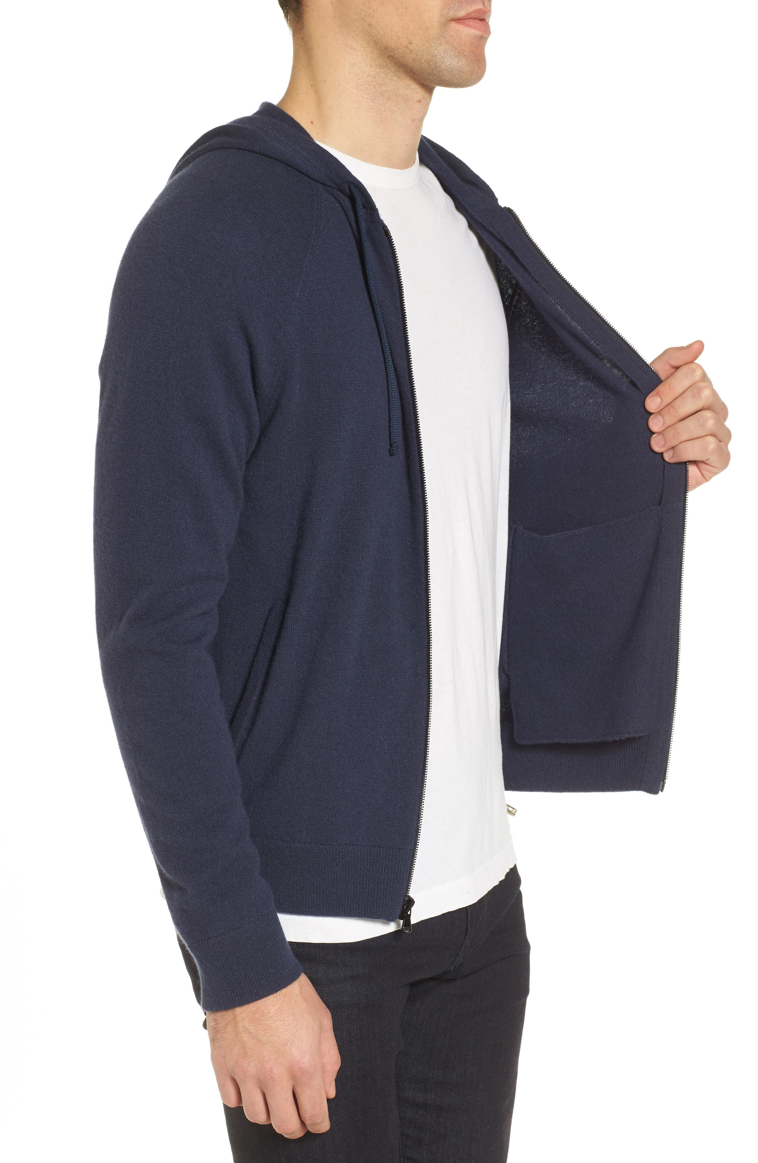 Classic Fit Cashmere Hooded Track Jacket,                             Alternate thumbnail 6, color,