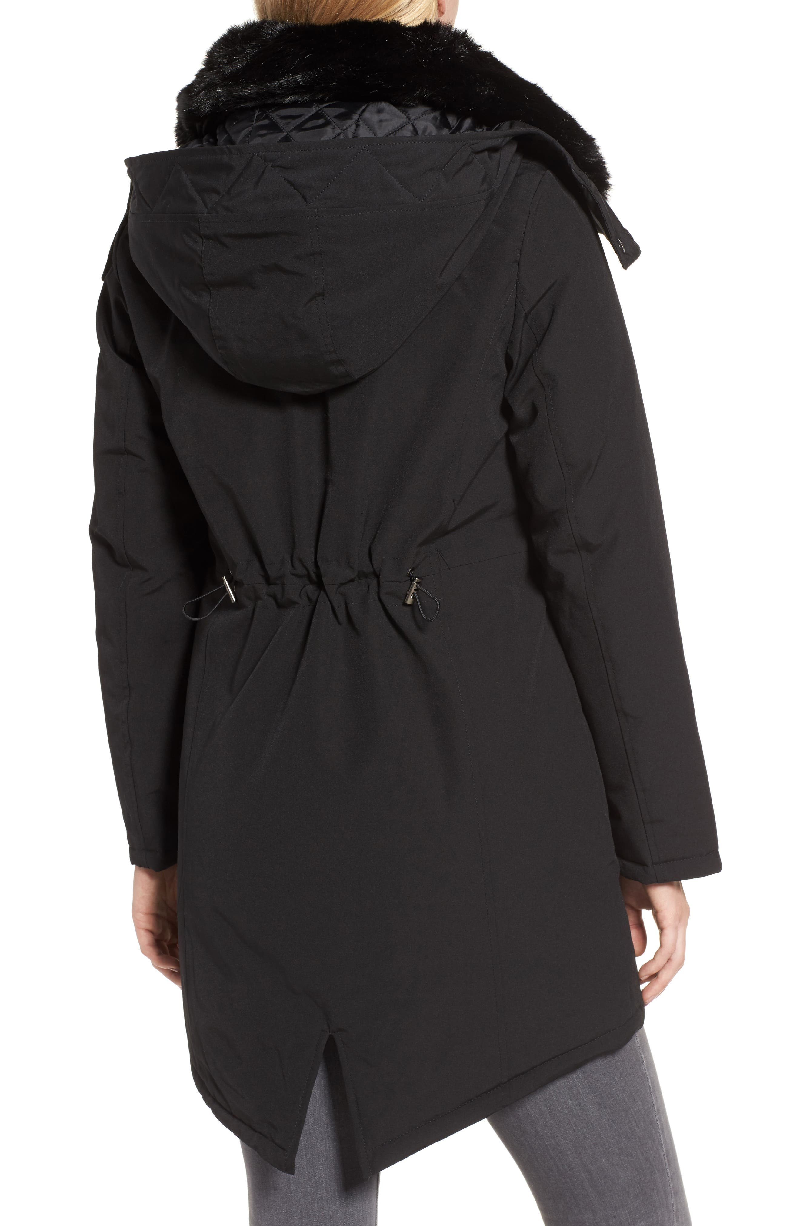 Hooded Anorak with Detachable Faux Fur Collar,                             Alternate thumbnail 2, color,                             001