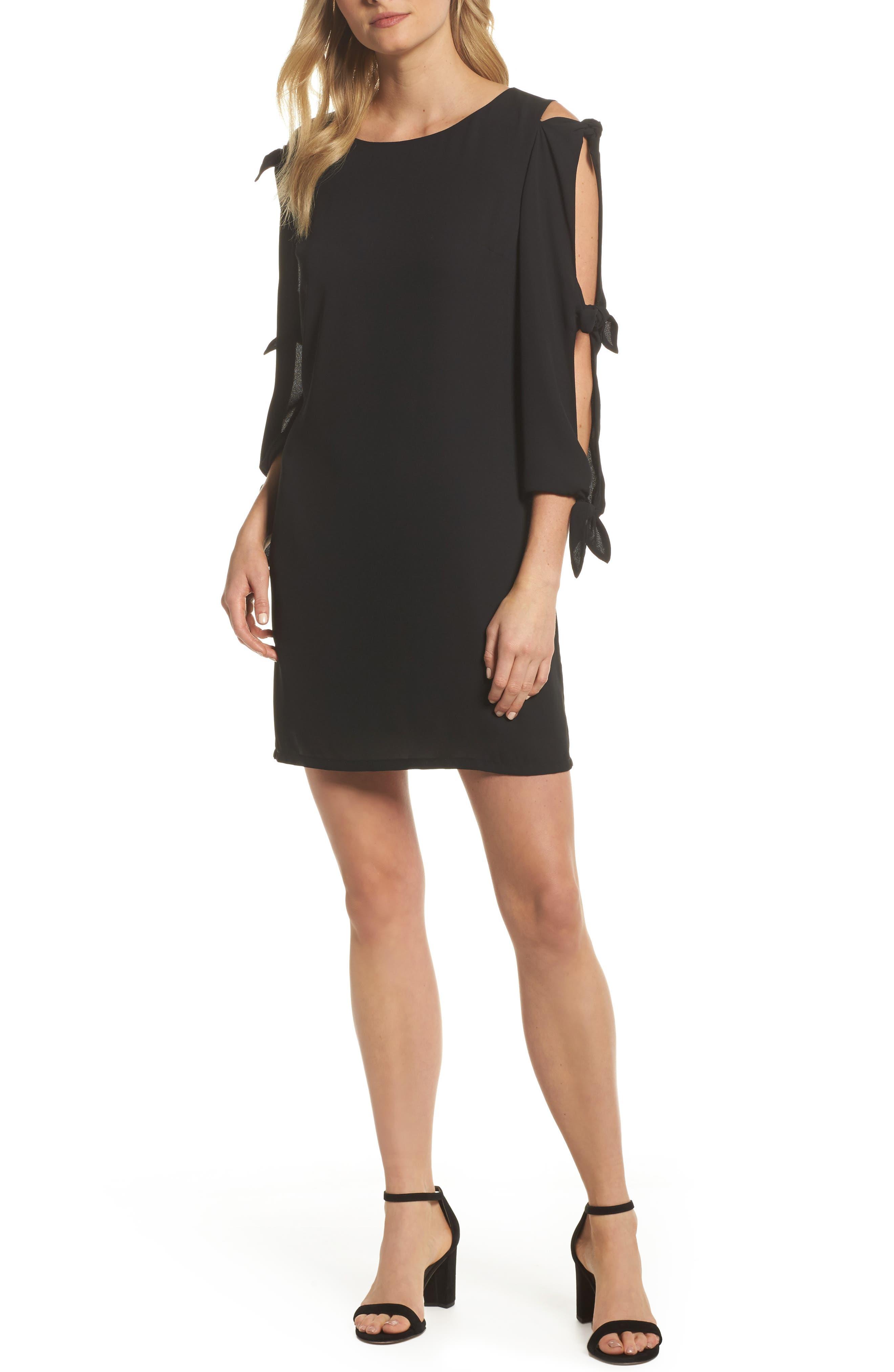 Bow Sleeve Shift Dress,                         Main,                         color, BLACK