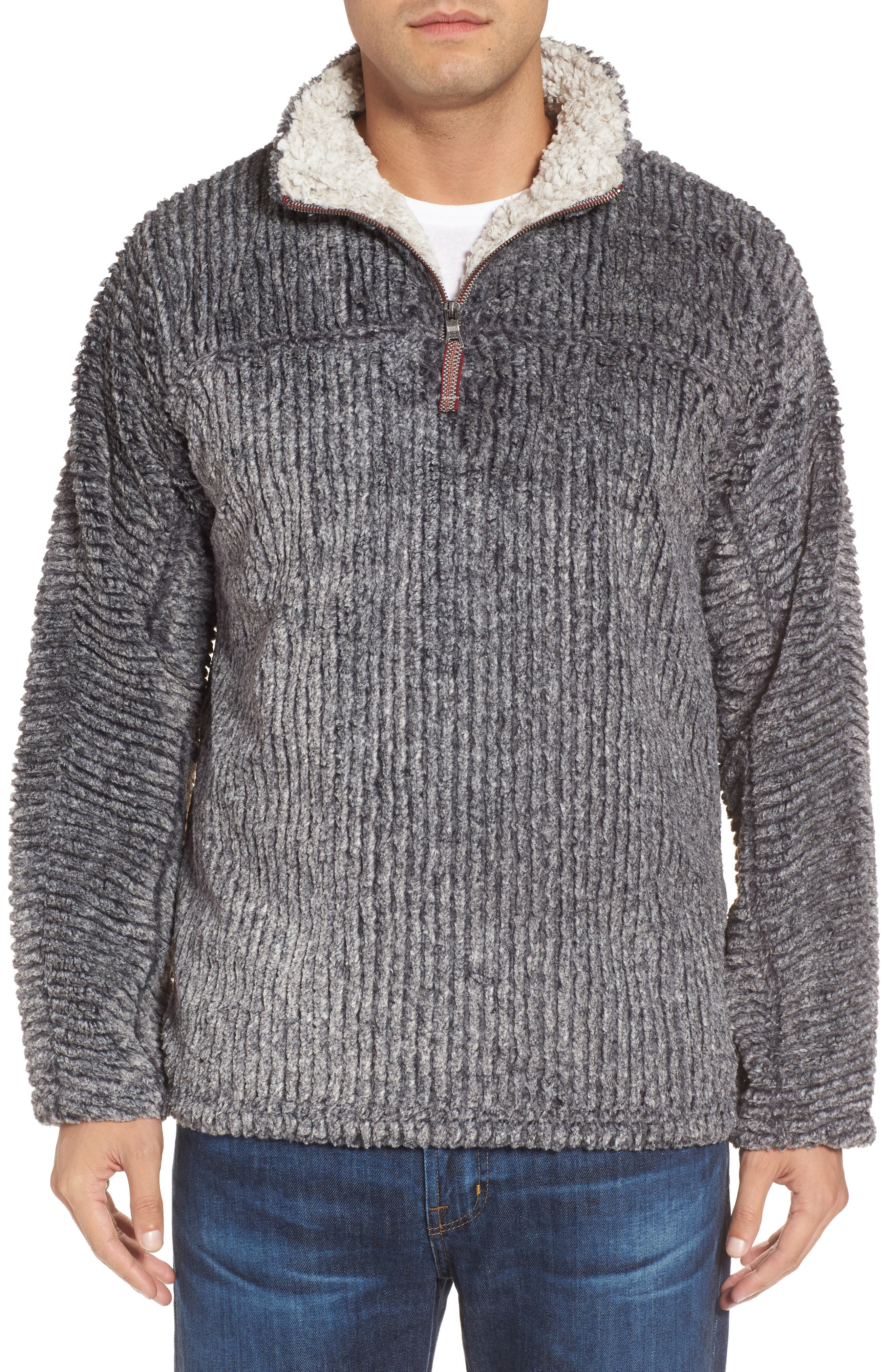 Frosty Cord Pile Quarter Zip Pullover,                         Main,                         color, 011