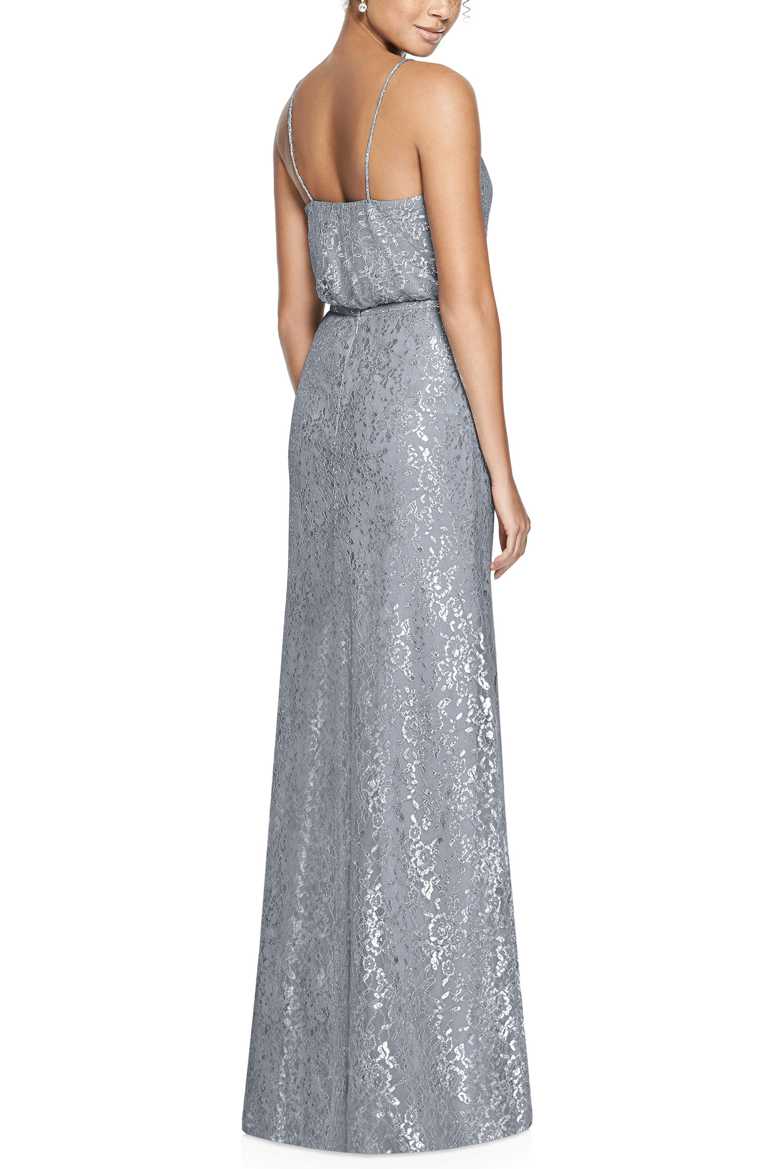 Metallic Lace Two-Piece Gown,                             Alternate thumbnail 2, color,                             PLATINUM