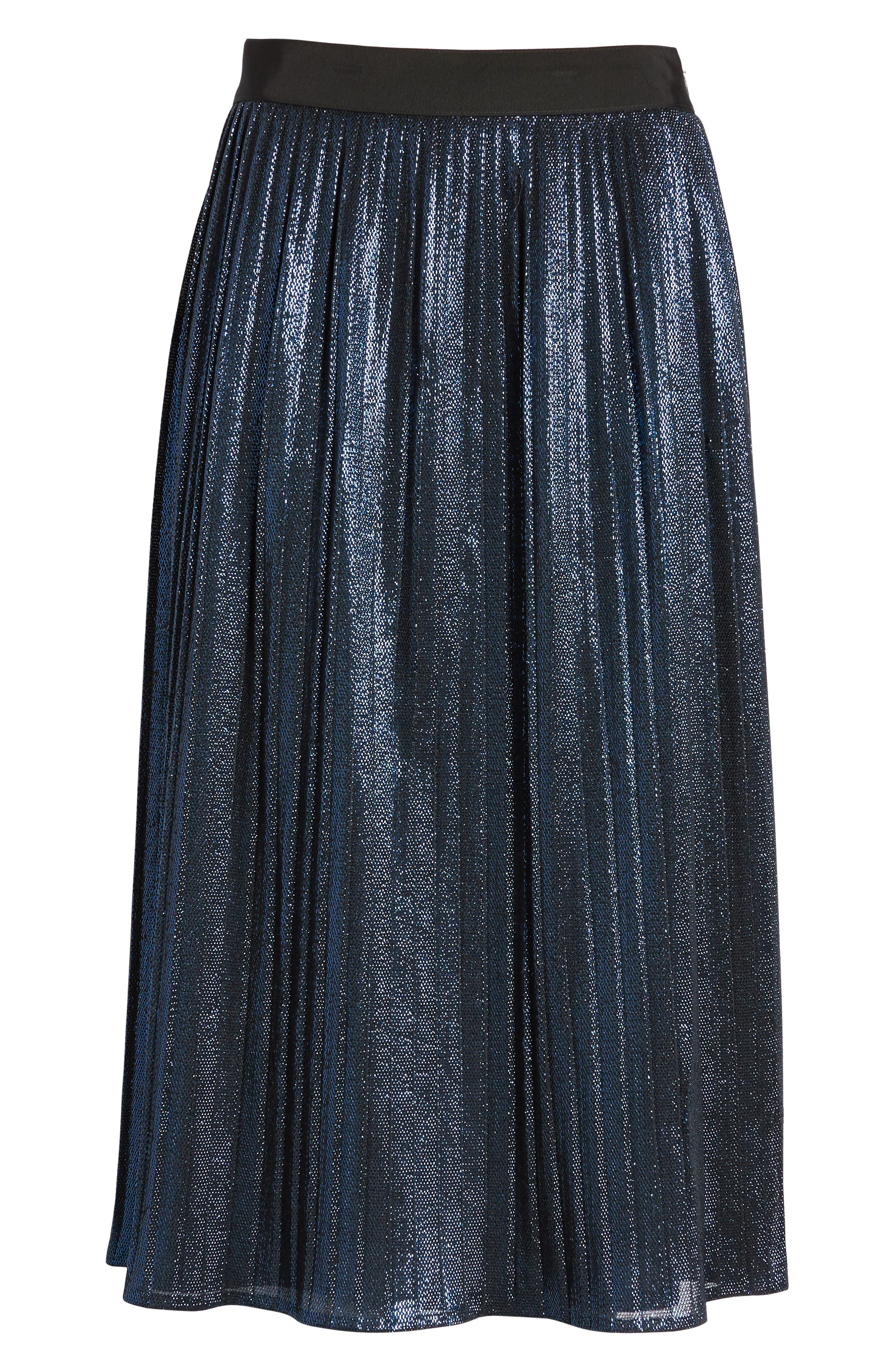 Miplisa Metallic Pleated Midi Skirt,                             Alternate thumbnail 6, color,                             480