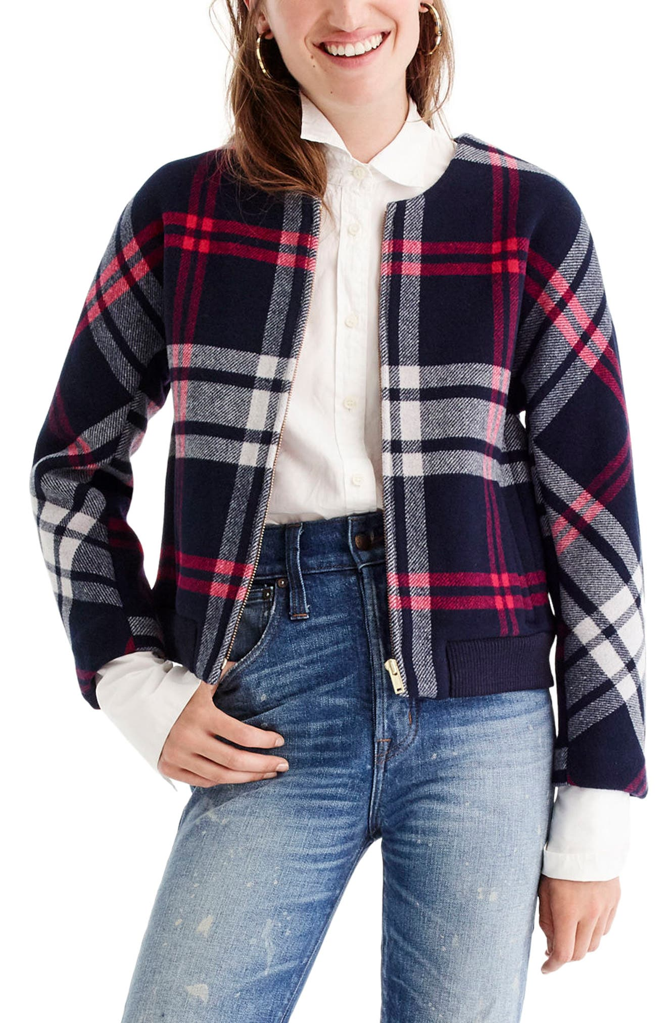 Plaid Wool Bomber,                         Main,                         color, 600