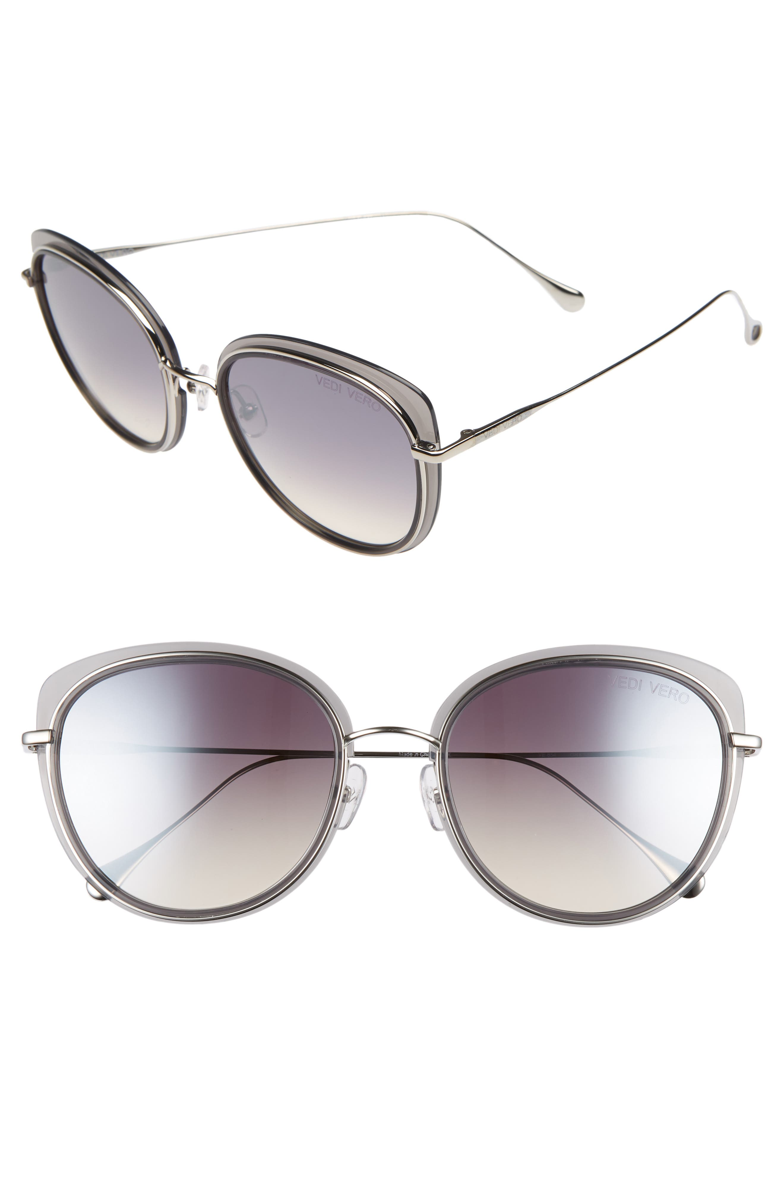 VEDI VERO 56Mm Round Sunglasses - Milky Light Grey