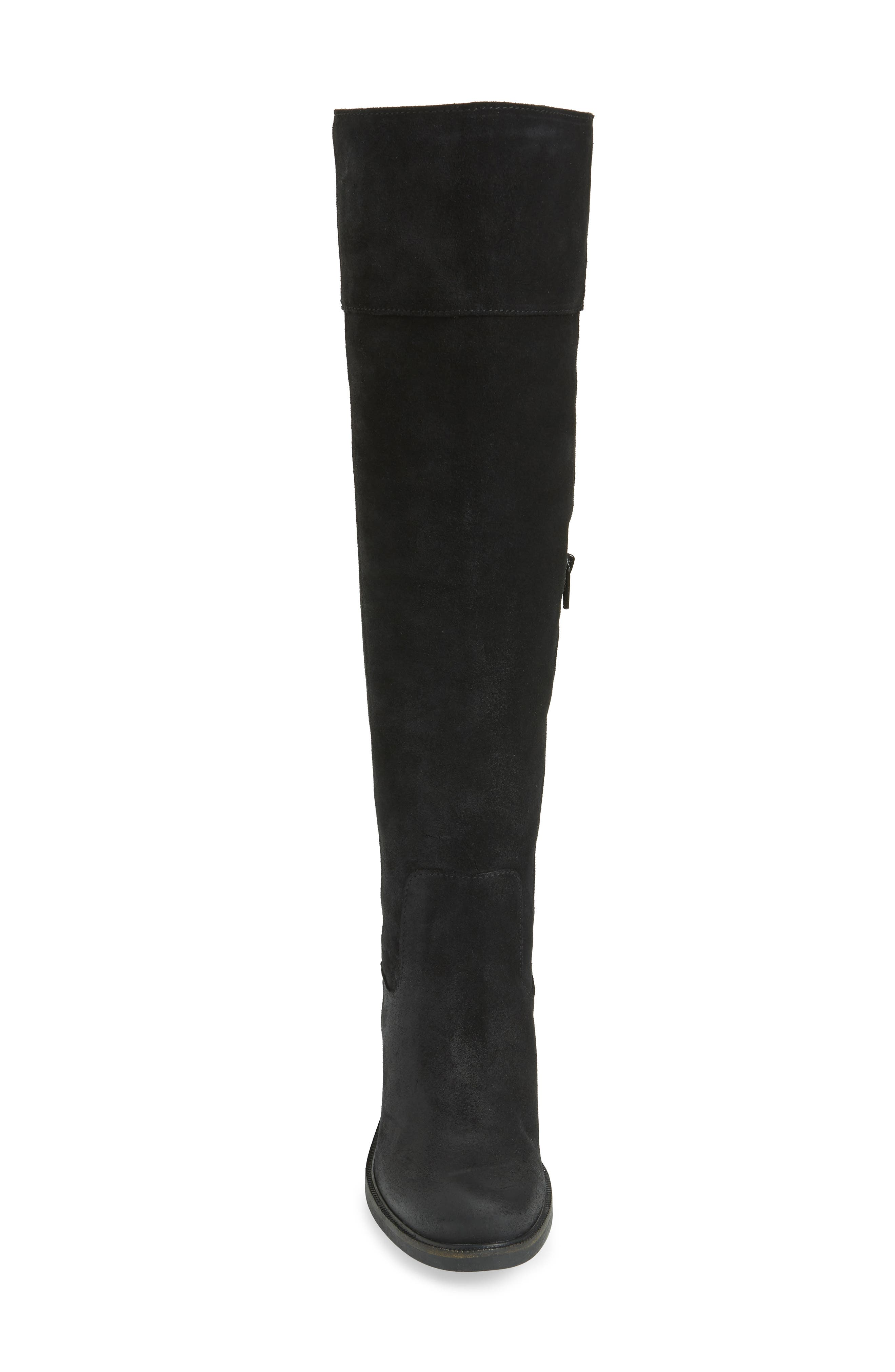 Bond Waterproof Over-the-Knee Boot,                             Alternate thumbnail 4, color,                             BLACK OIL SUEDE