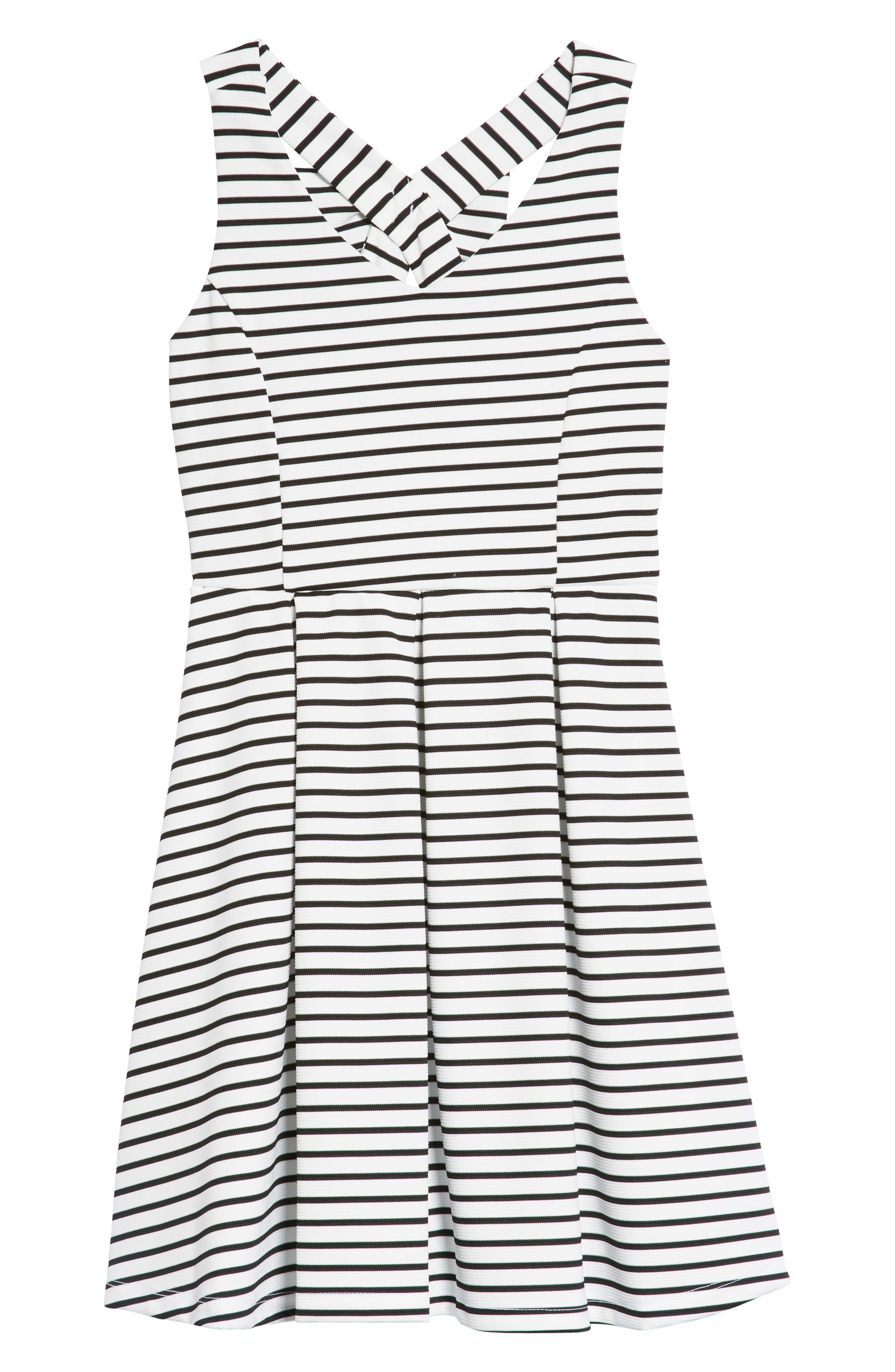 AVA & YELLY,                             Rib Stripe Skater Dress,                             Main thumbnail 1, color,                             WHITE/ BLACK