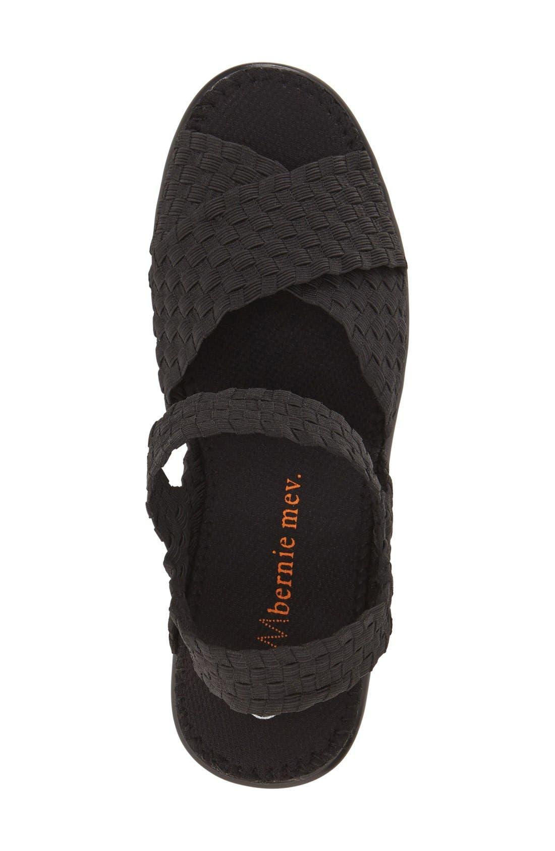 BERNIE MEV.,                             'Buttercup' Woven Platform Wedge Sandal,                             Alternate thumbnail 3, color,                             BLACK FABRIC