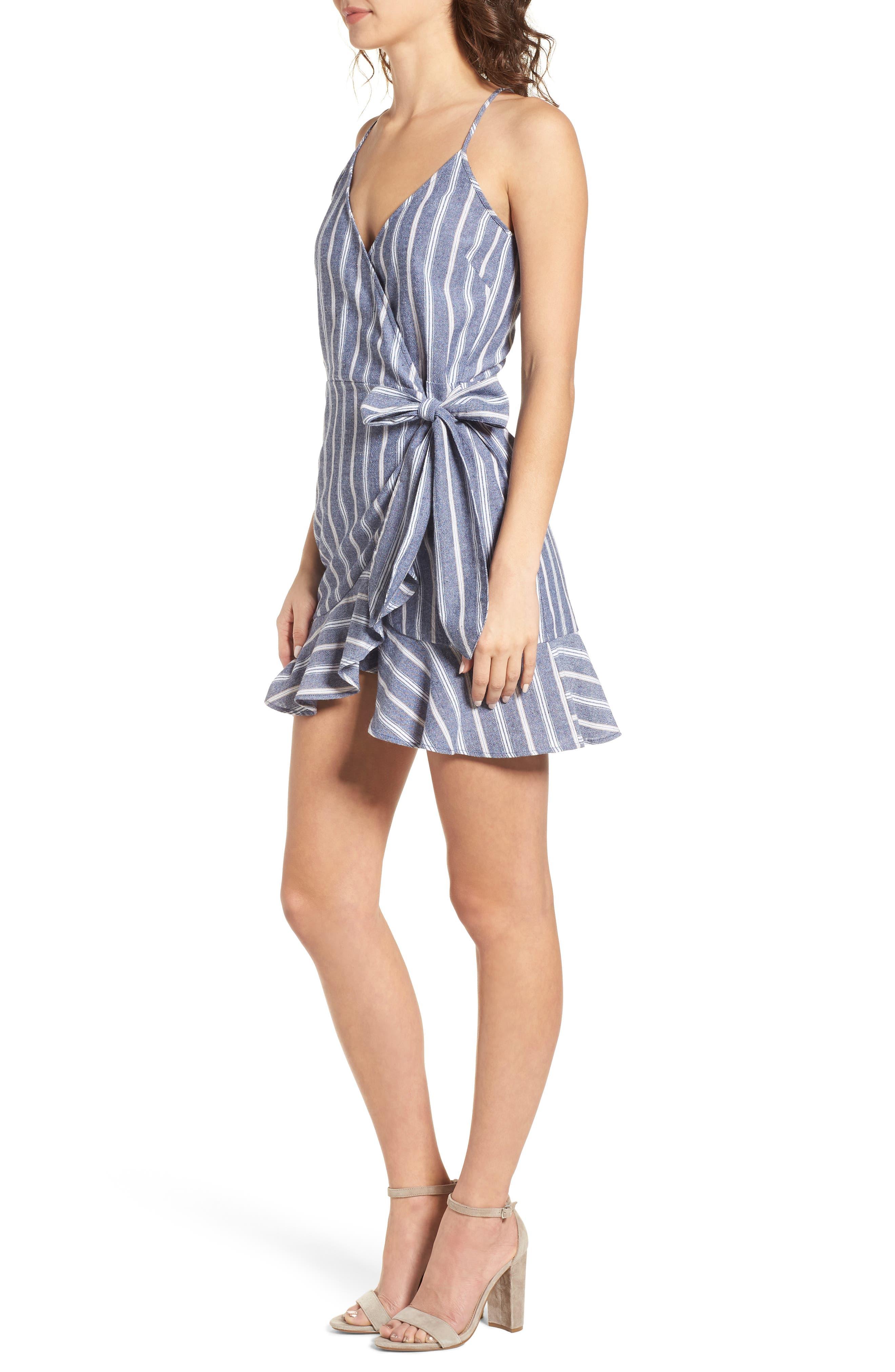 Voyage Stripe Wrap Dress,                             Alternate thumbnail 3, color,                             400