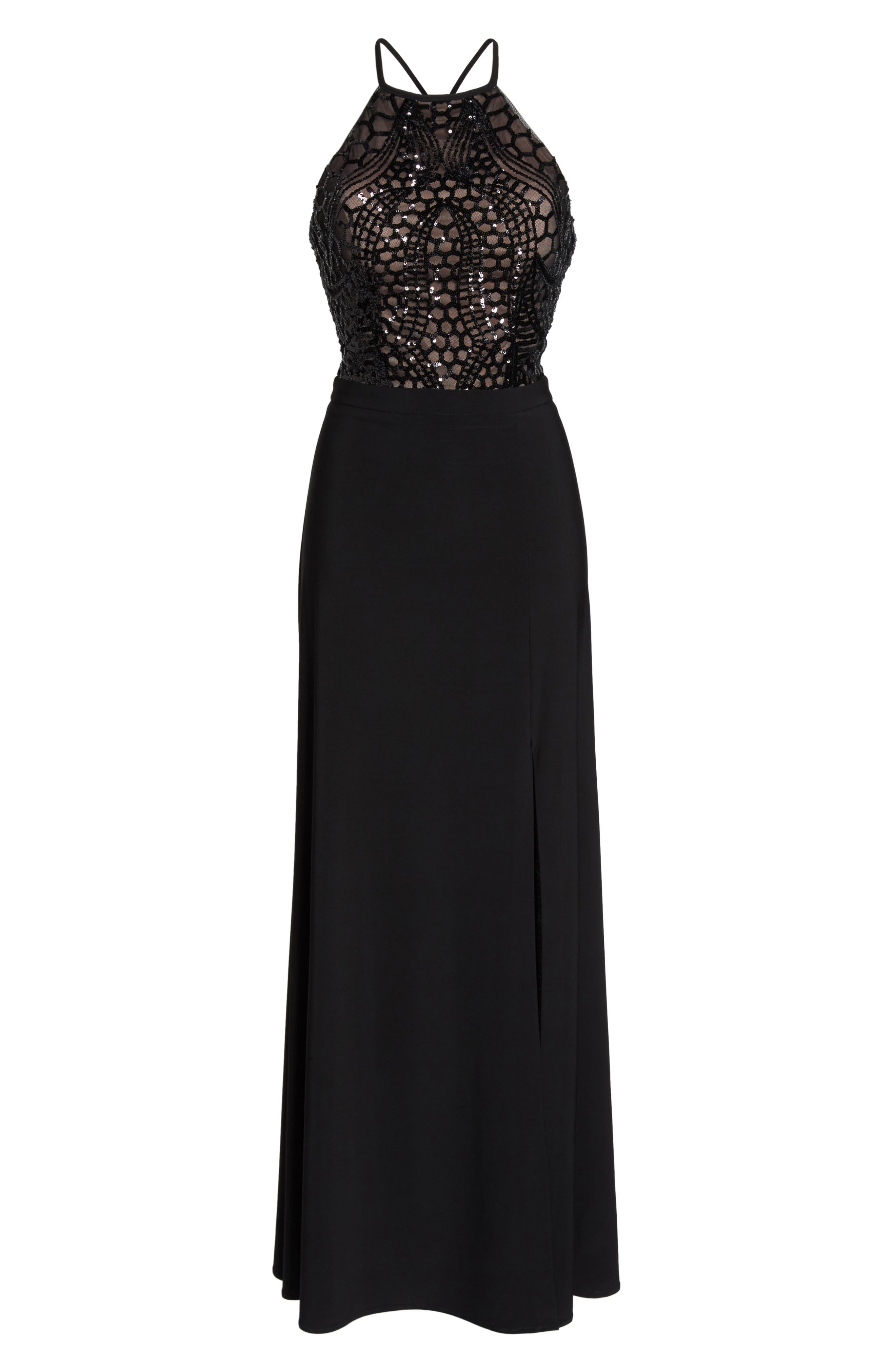 MORGAN & CO.,                             Sequin Halter Gown,                             Alternate thumbnail 6, color,                             BLACK/ NUDE