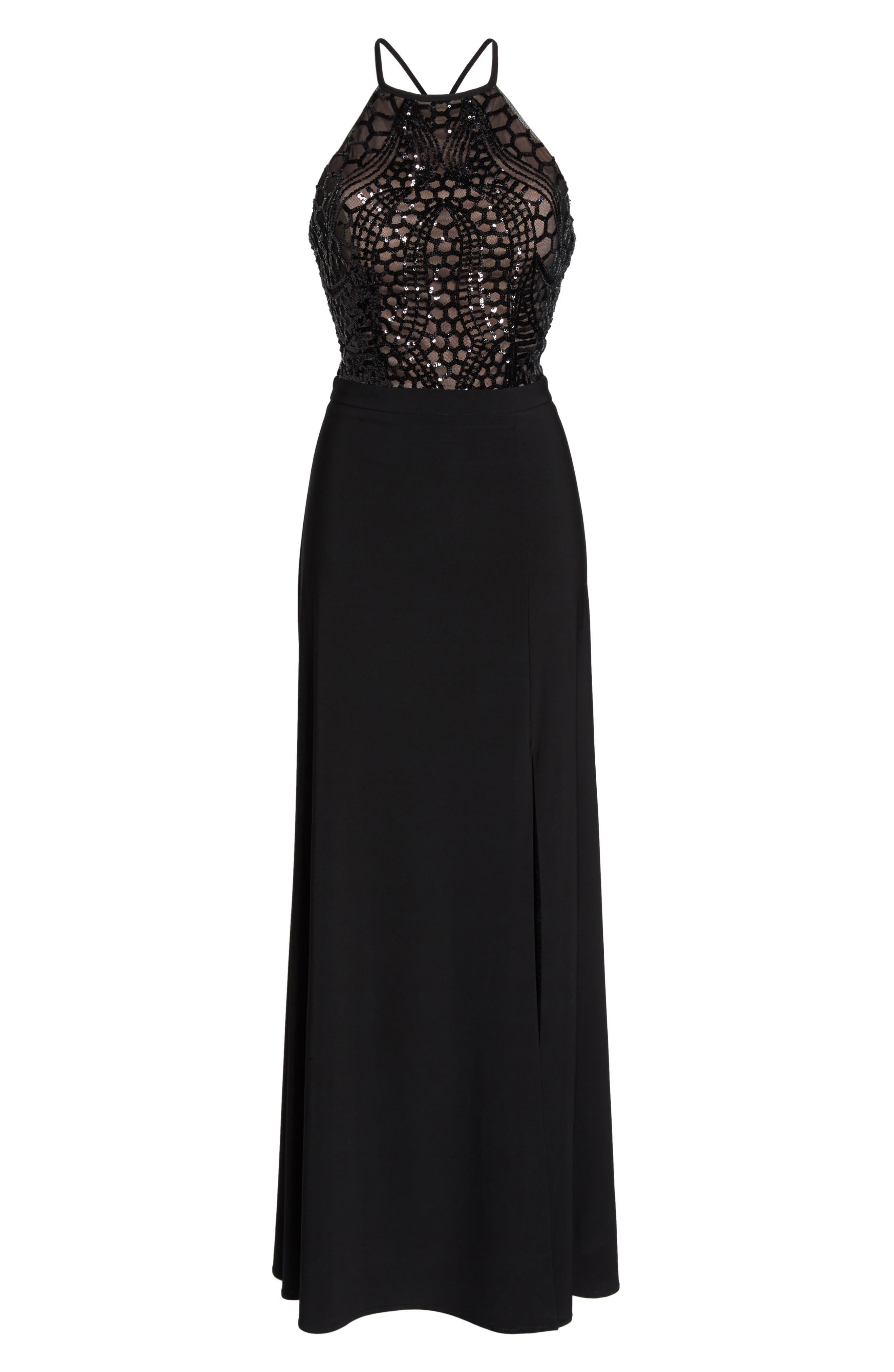 Sequin Halter Gown,                             Alternate thumbnail 6, color,                             BLACK/ NUDE