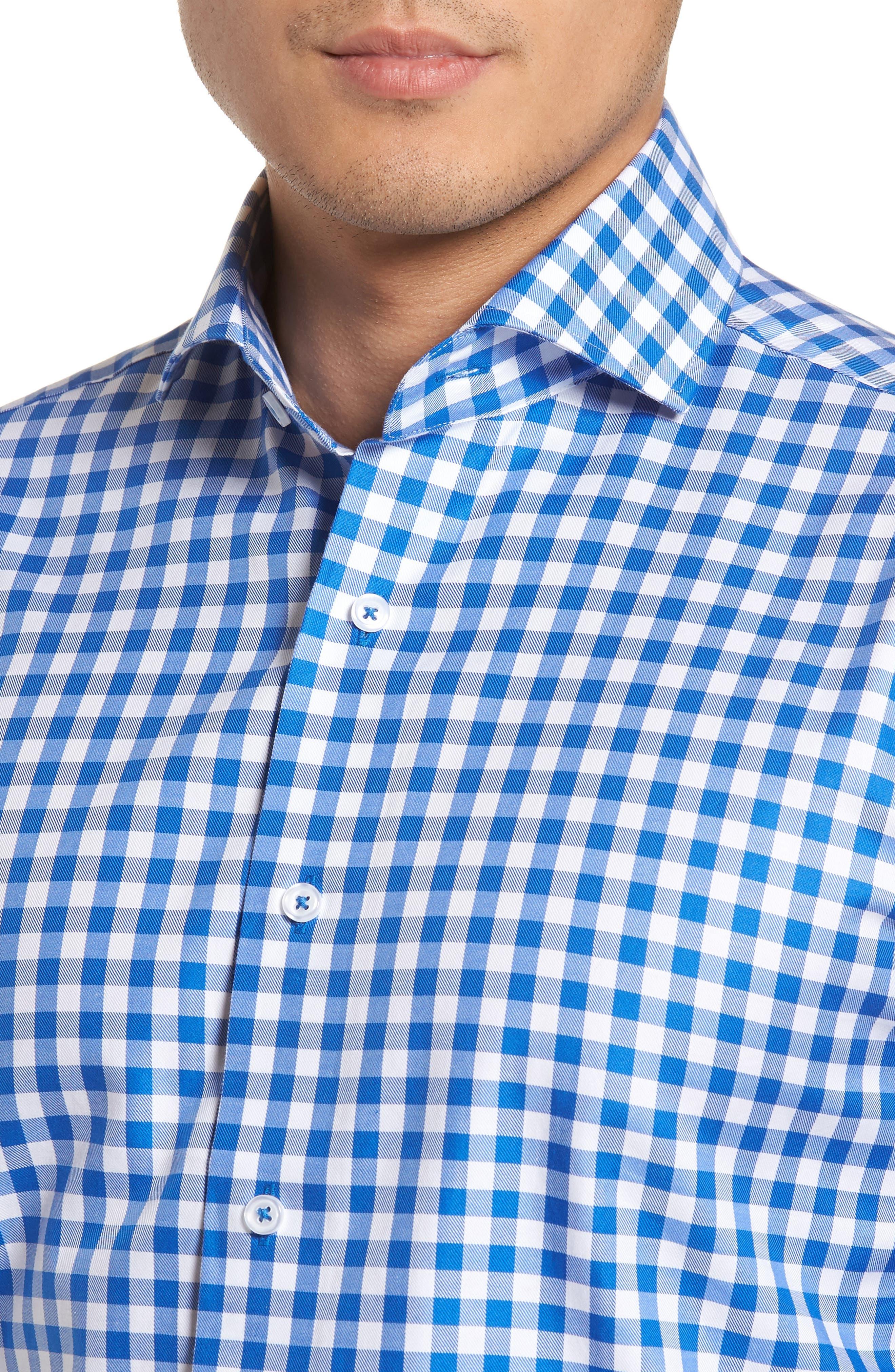 Trim Fit Gingham Dress Shirt,                             Alternate thumbnail 2, color,                             404