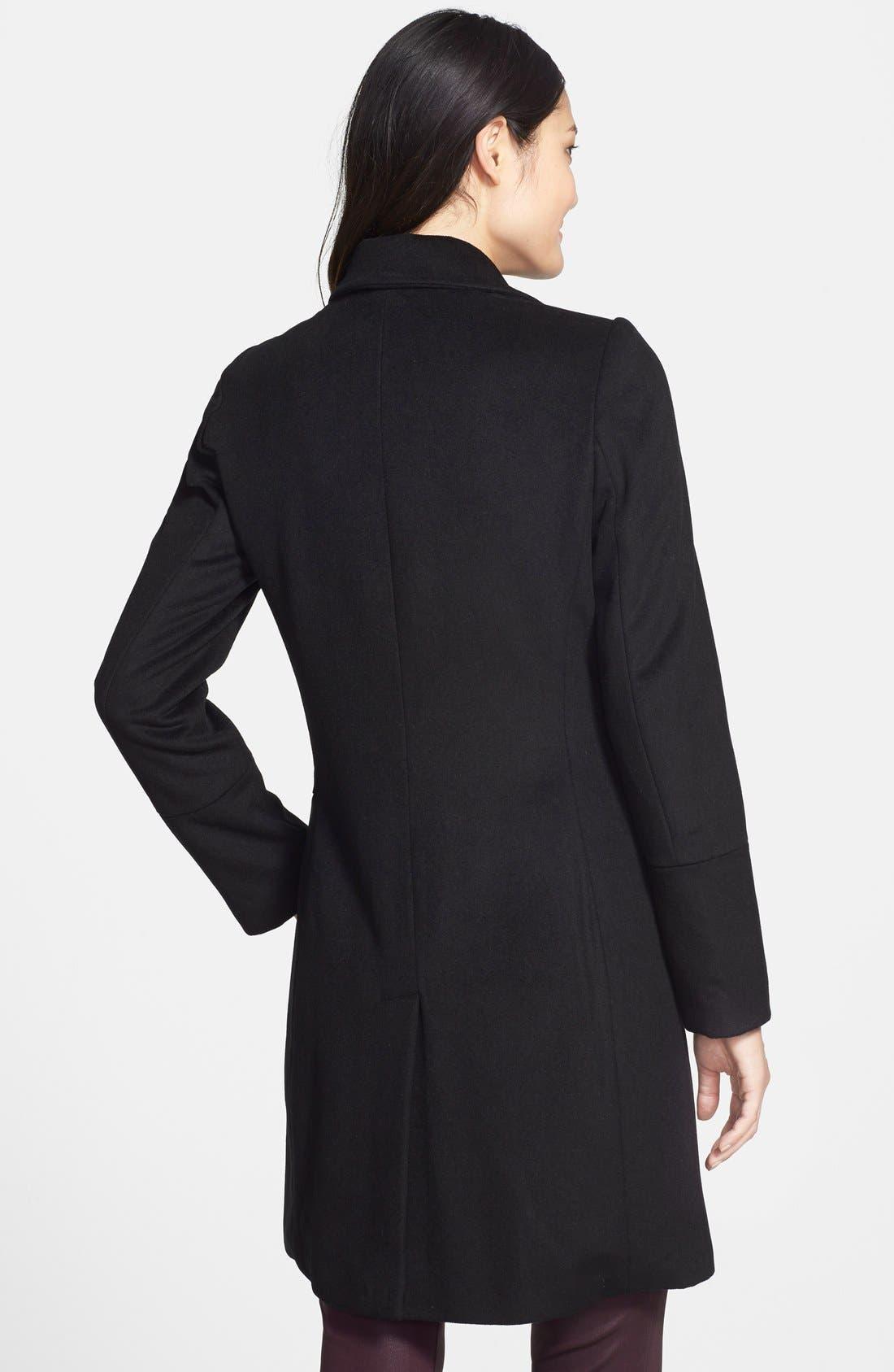 CALVIN KLEIN,                             Notch Collar Wool Blend Coat,                             Alternate thumbnail 3, color,                             001