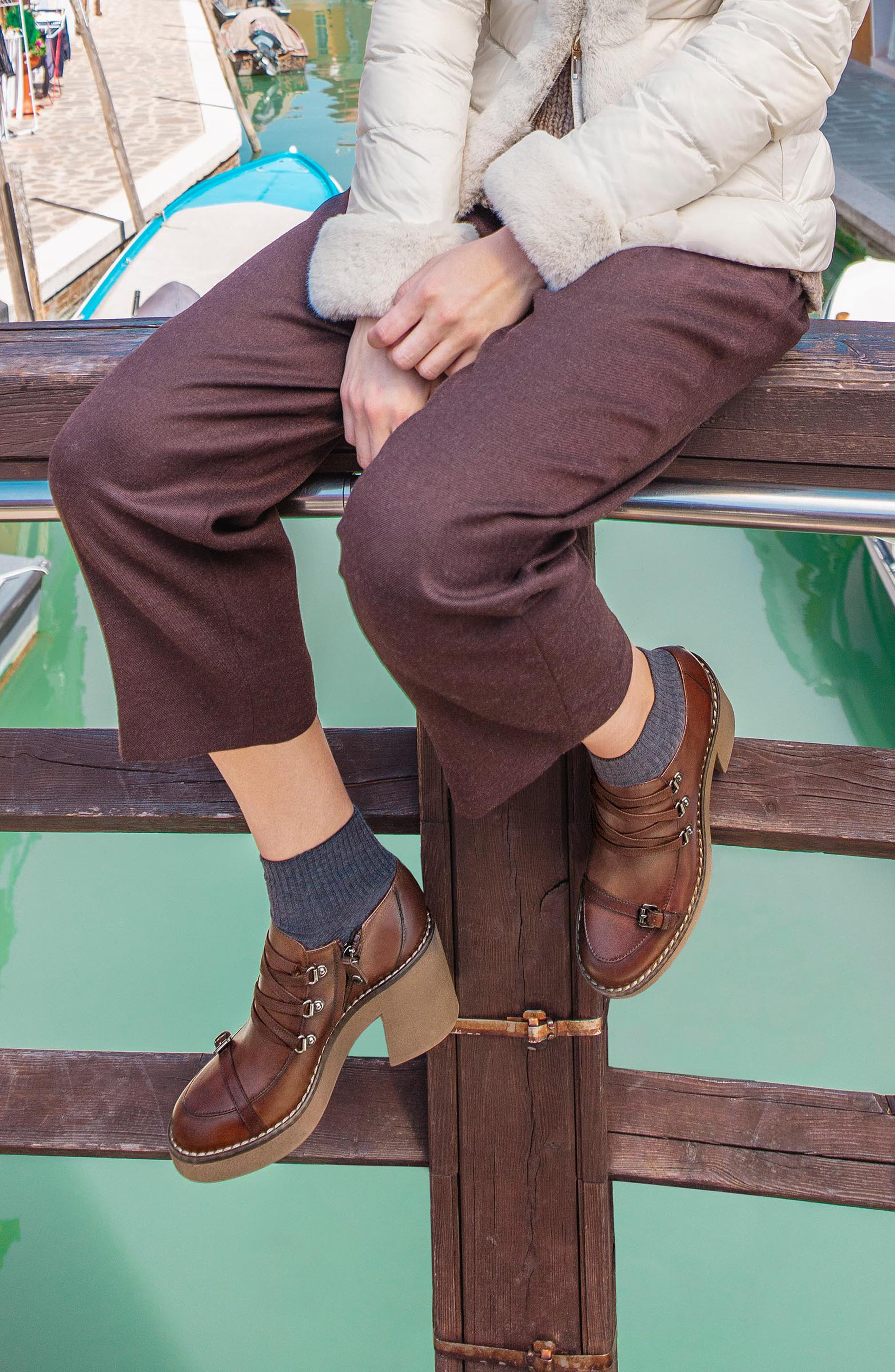 Adrya Bootie,                             Alternate thumbnail 7, color,                             BROWN LEATHER