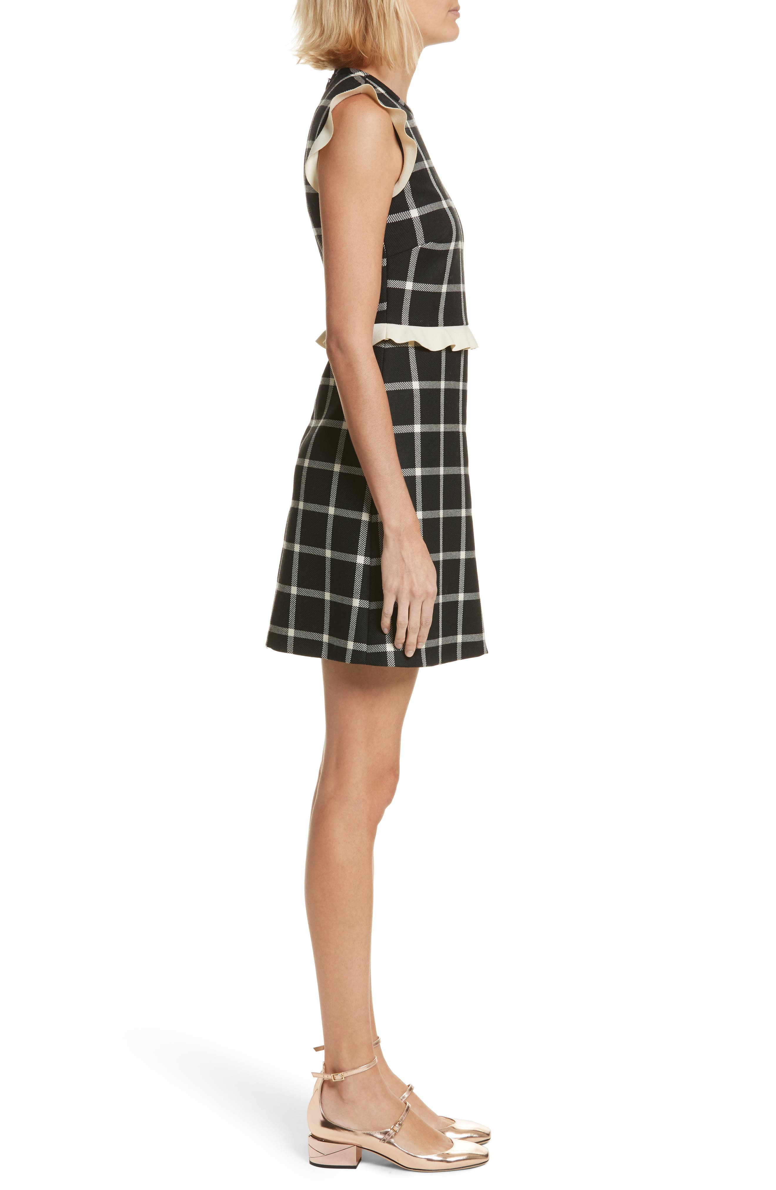 Cavalry Ruffle Trim Wool Dress,                             Alternate thumbnail 3, color,                             001
