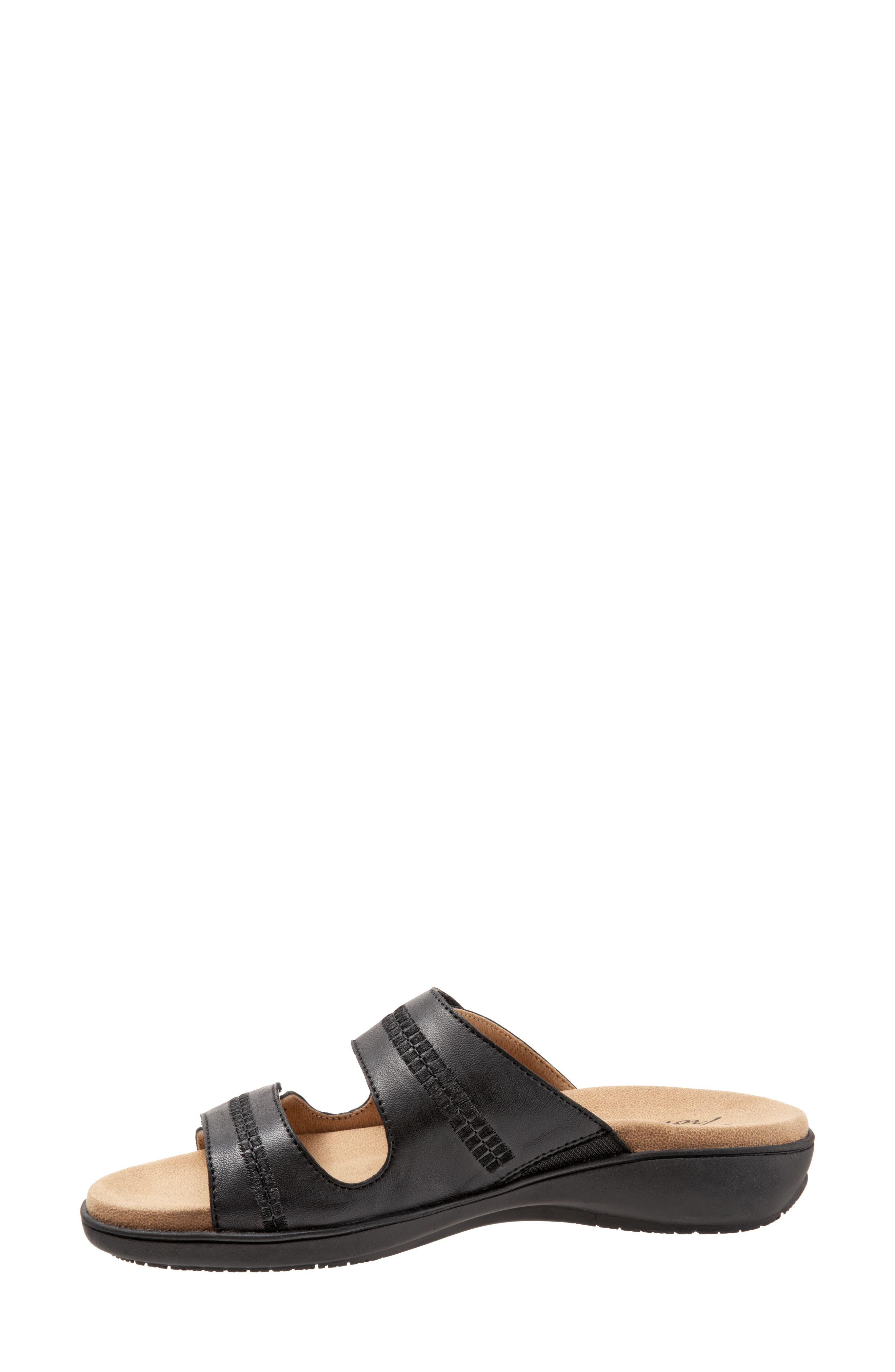 Vale Double Strap Slide Sandal,                             Alternate thumbnail 8, color,                             BLACK LEATHER