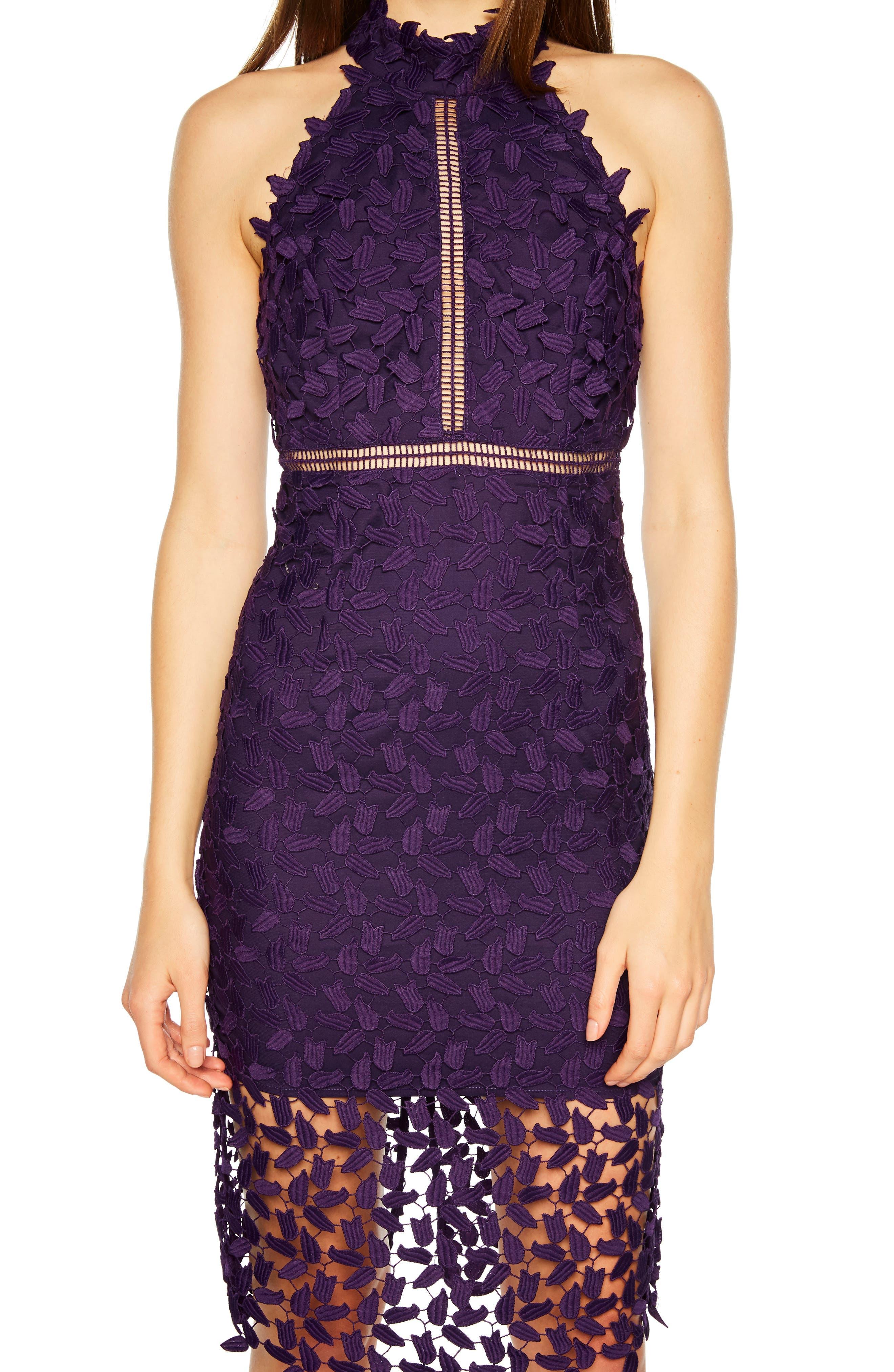 Gemma Halter Lace Sheath Dress,                             Alternate thumbnail 4, color,                             DARK PURPLE